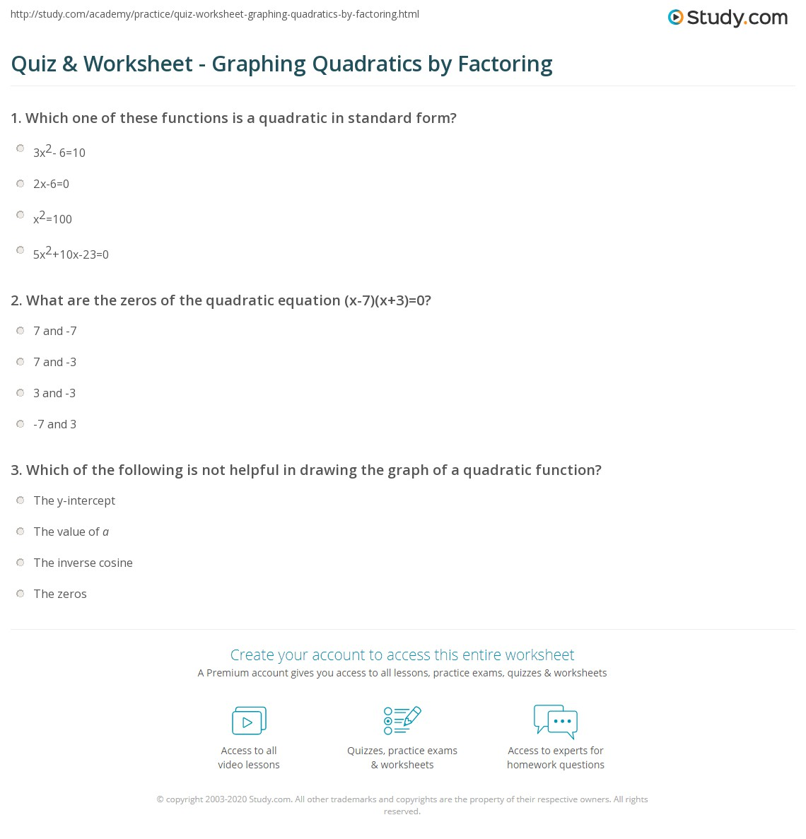 Quiz Worksheet Graphing Quadratics By Factoring Study