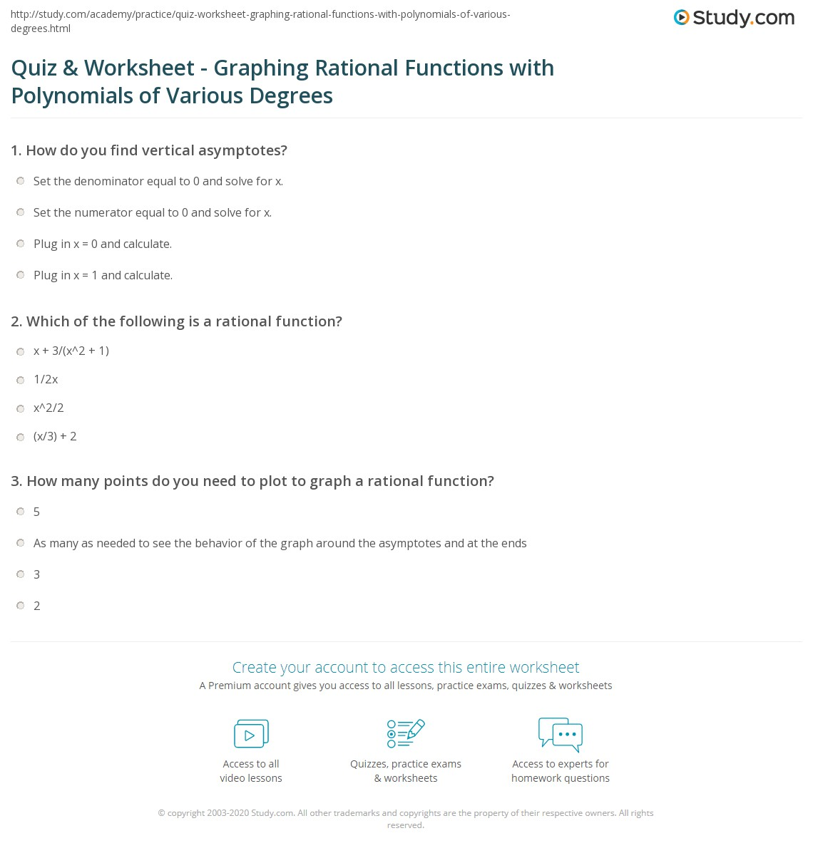quiz worksheet graphing rational functions with polynomials of various degrees. Black Bedroom Furniture Sets. Home Design Ideas