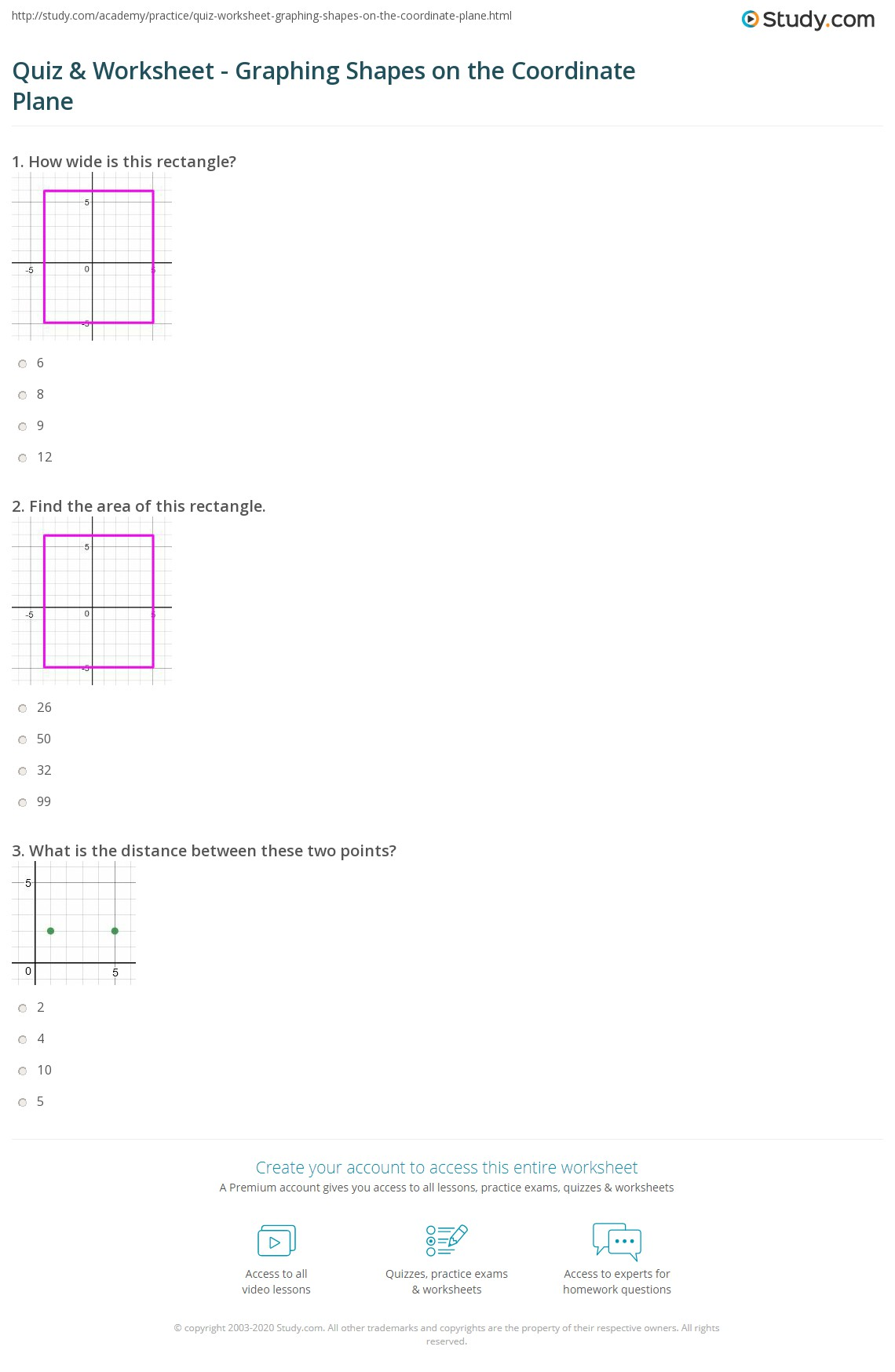 quiz worksheet graphing shapes on the coordinate plane. Black Bedroom Furniture Sets. Home Design Ideas