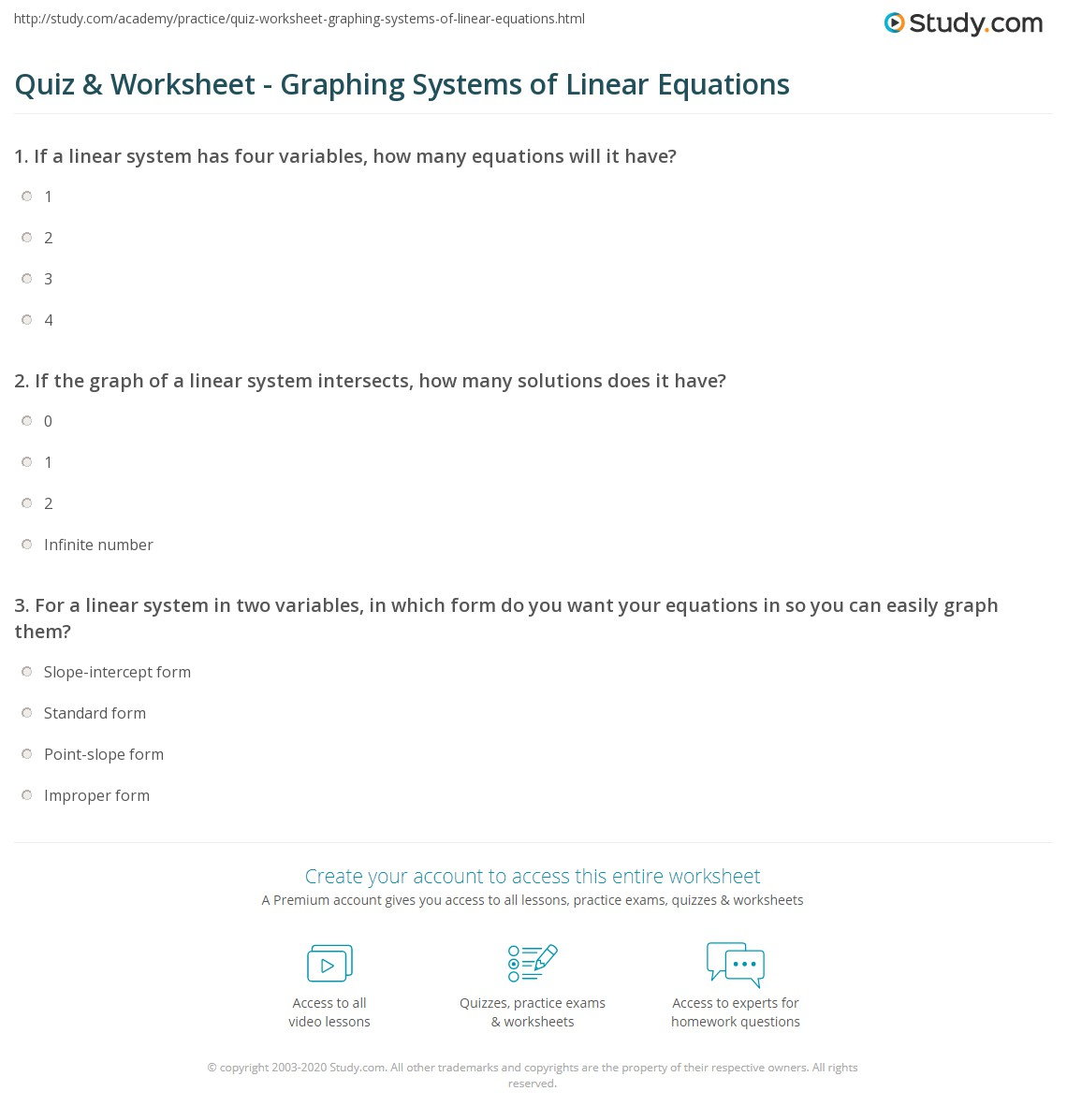 quiz & worksheet - graphing systems of linear equations | study