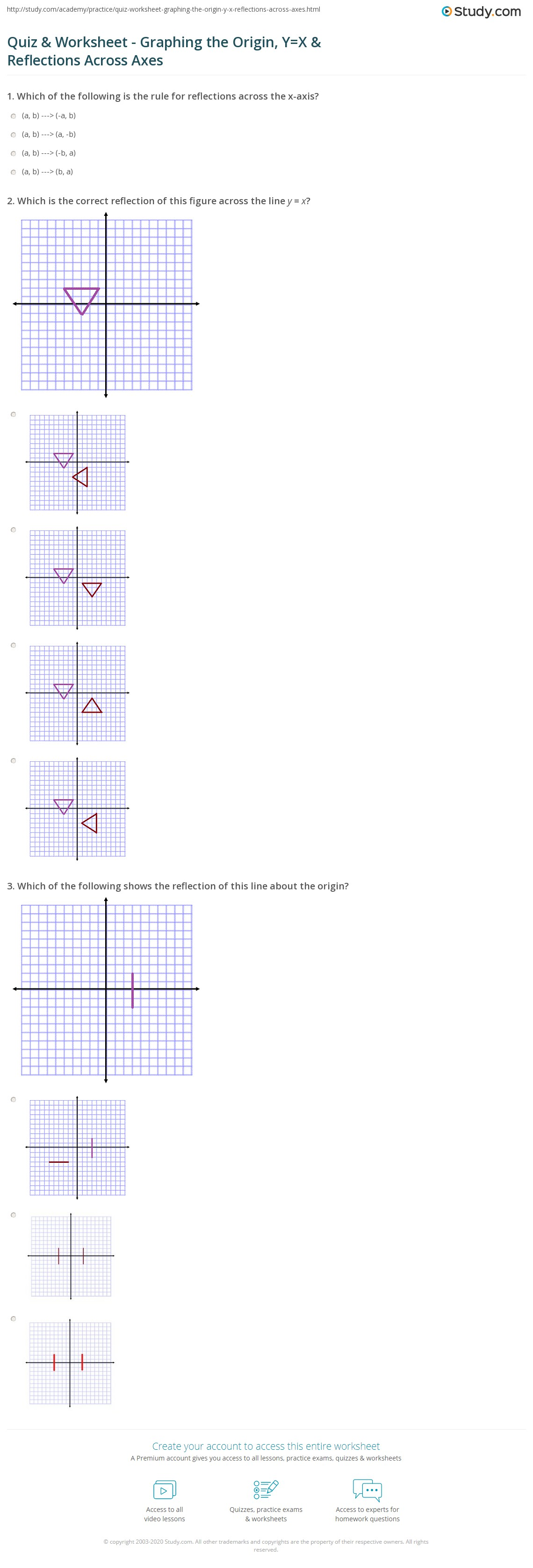 Quiz Worksheet Graphing The Origin Yx Reflections Across