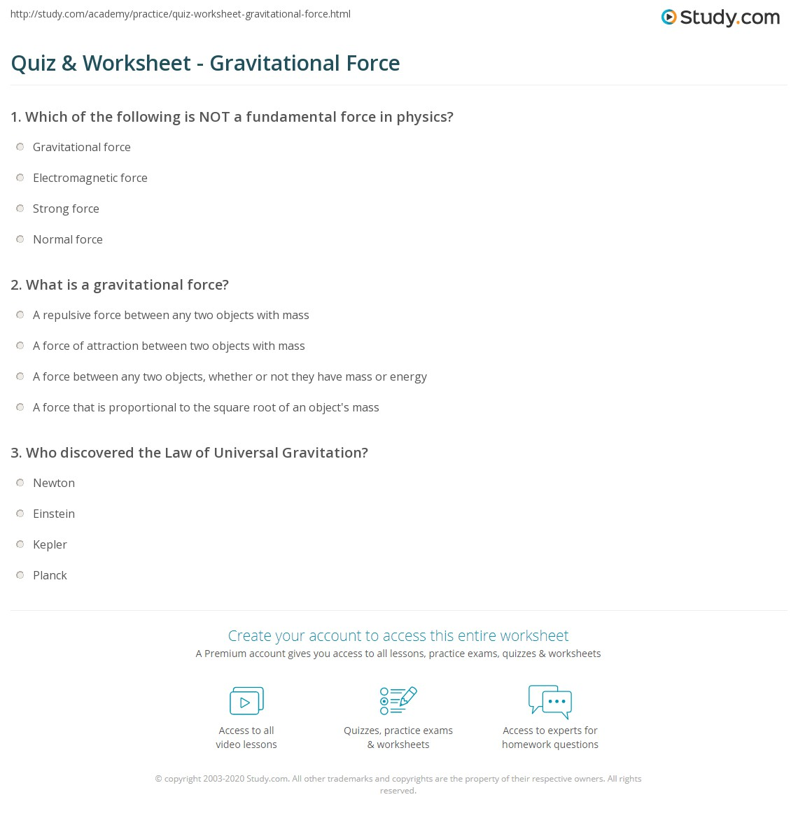 {Quiz Worksheet Gravitational Force – Gravitational Force Worksheet