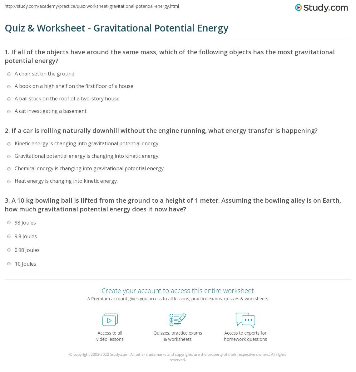 Quiz & Worksheet - Gravitational Potential Energy | Study.com
