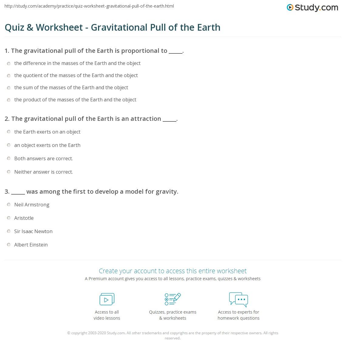 quiz worksheet gravitational pull of the earth. Black Bedroom Furniture Sets. Home Design Ideas