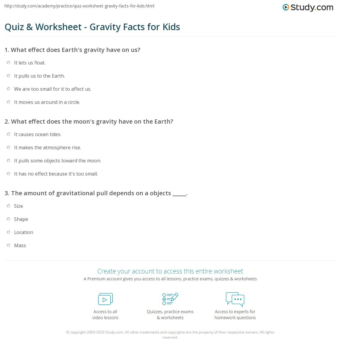 quiz & worksheet - gravity facts for kids | study