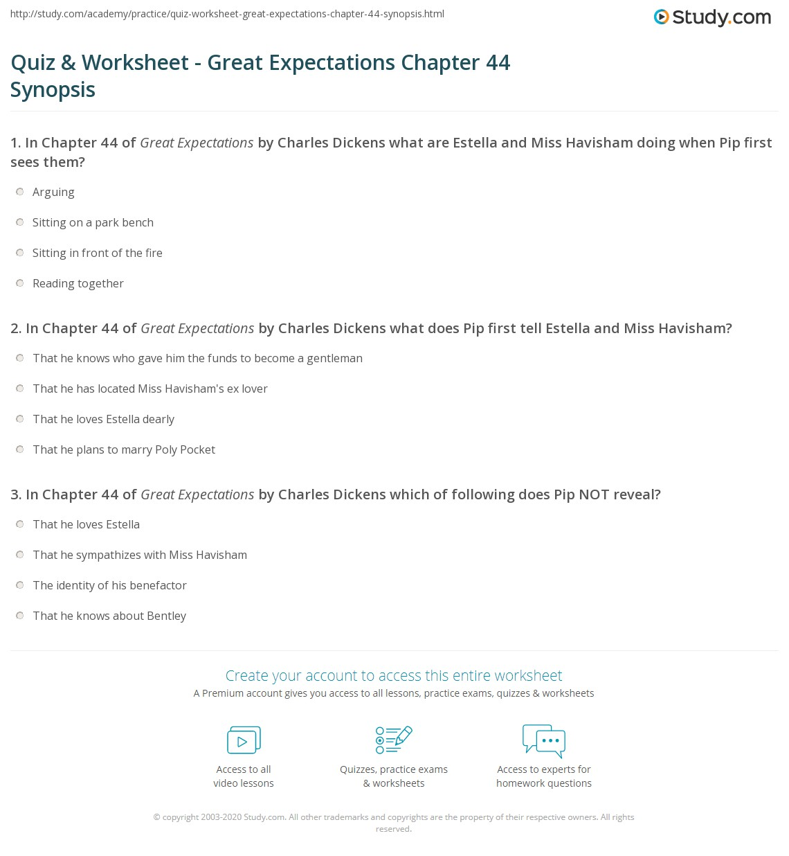 Great expectations first chapter essay
