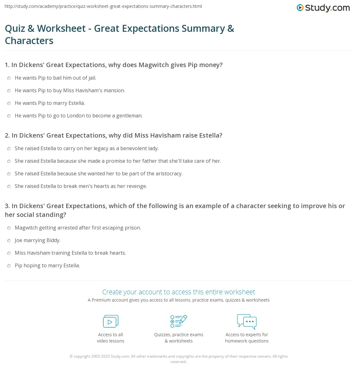 Quiz & Worksheet - Great Expectations Summary & Characters   Study.com
