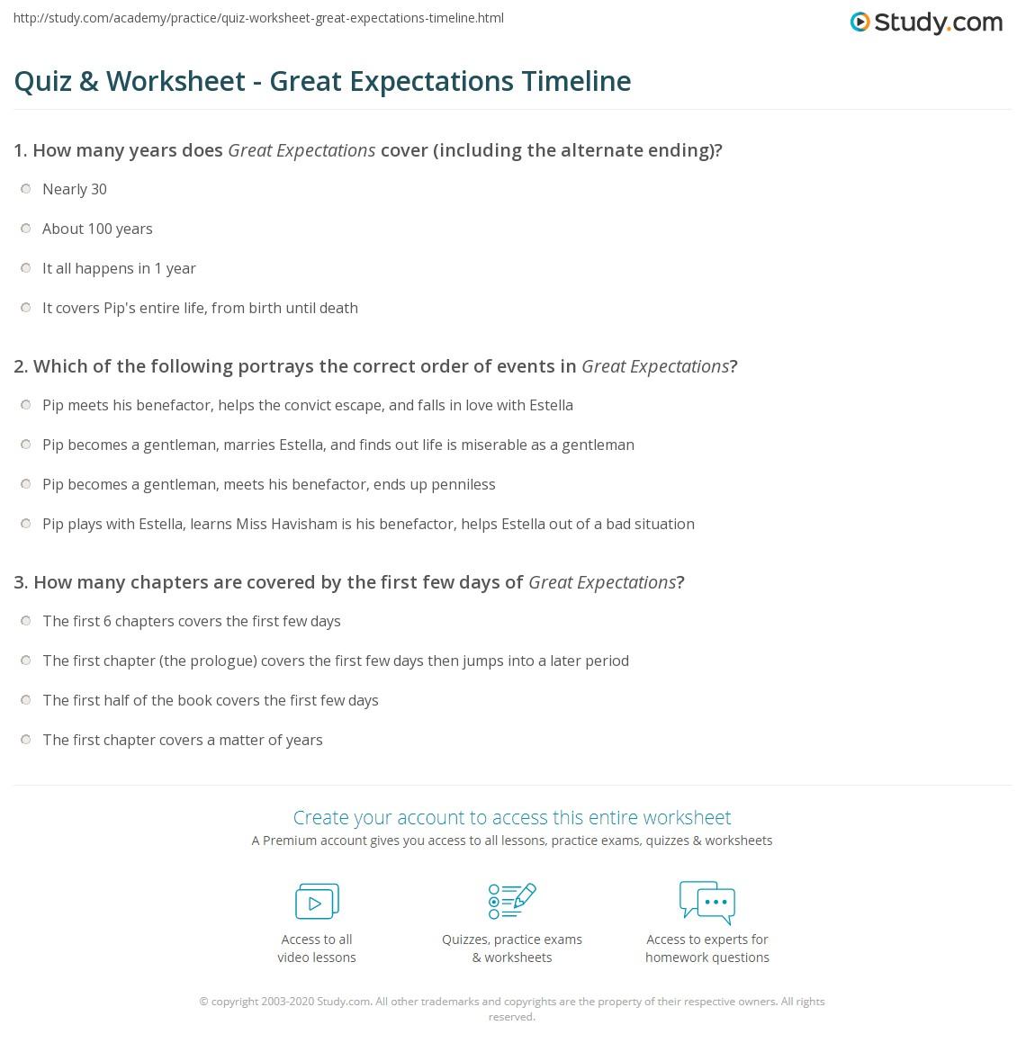 Quiz & Worksheet - Great Expectations Timeline   Study.com