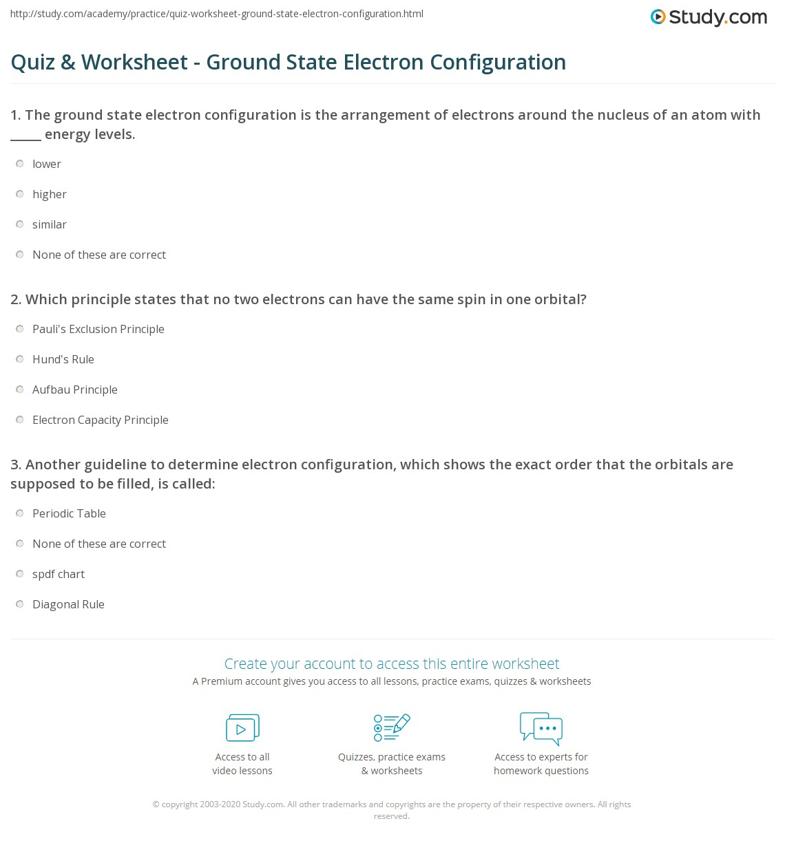 Quiz Worksheet Ground State Electron Configuration Study