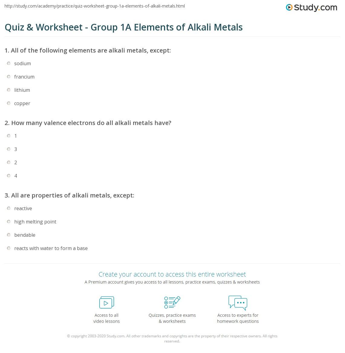 Quiz Worksheet Group 1A Elements of Alkali Metals – Ipc Worksheets