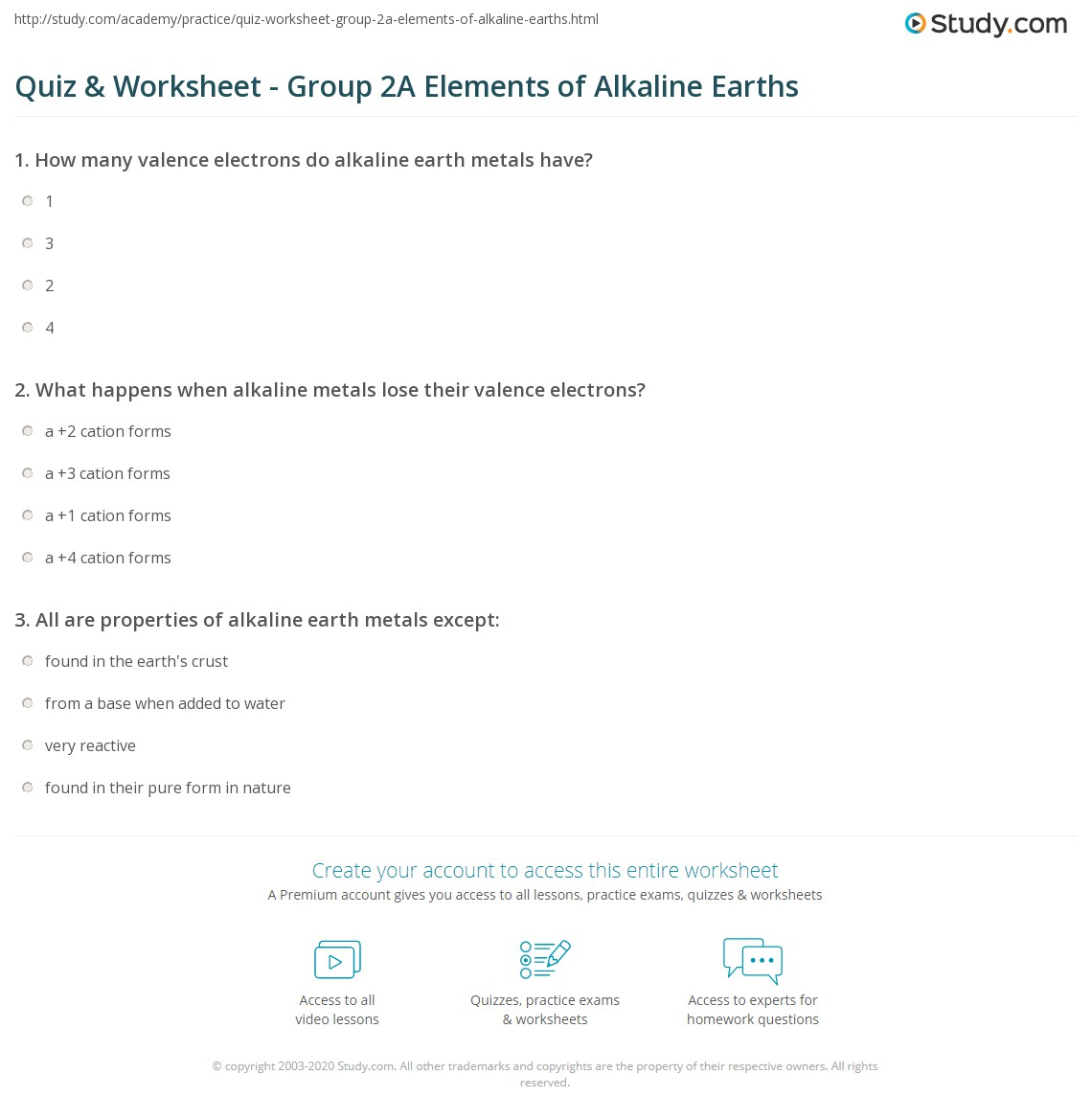 print alkaline earths group 2a elements definition properties worksheet - Characteristics Of Alkaline Earth Metals In The Periodic Table