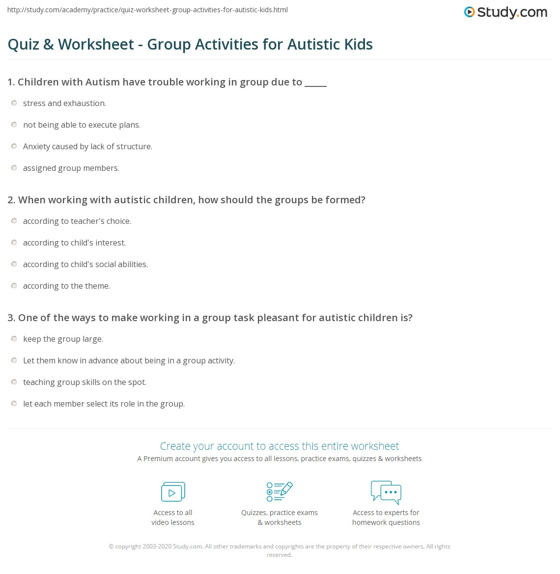 Worksheets Worksheets For Children With Autism quiz worksheet group activities for autistic kids study com print with autism worksheet