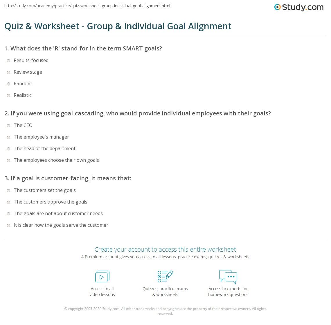 Quiz Worksheet Group Individual Goal Alignment – Goal Worksheets
