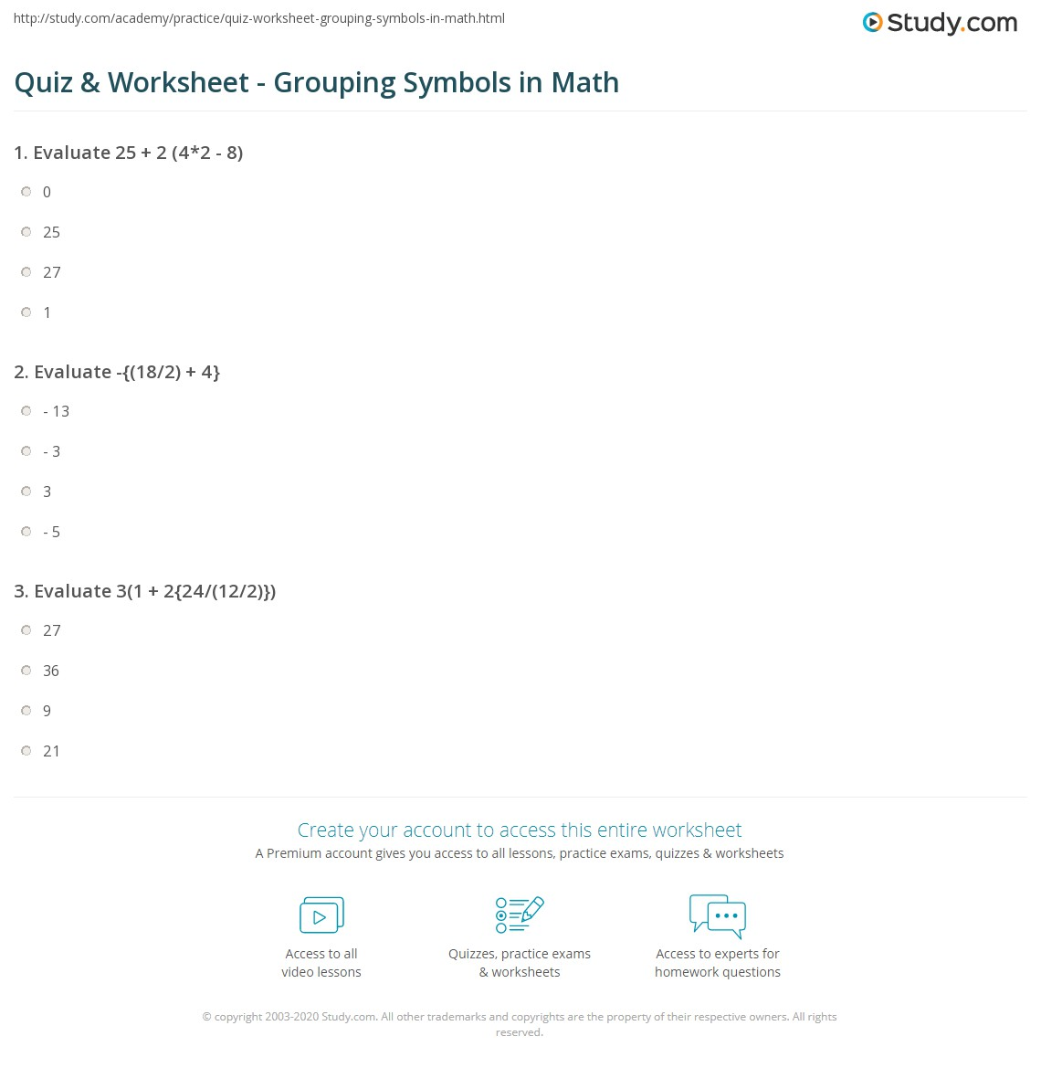 Quiz Worksheet Grouping Symbols in Math – Math Grouping Worksheets