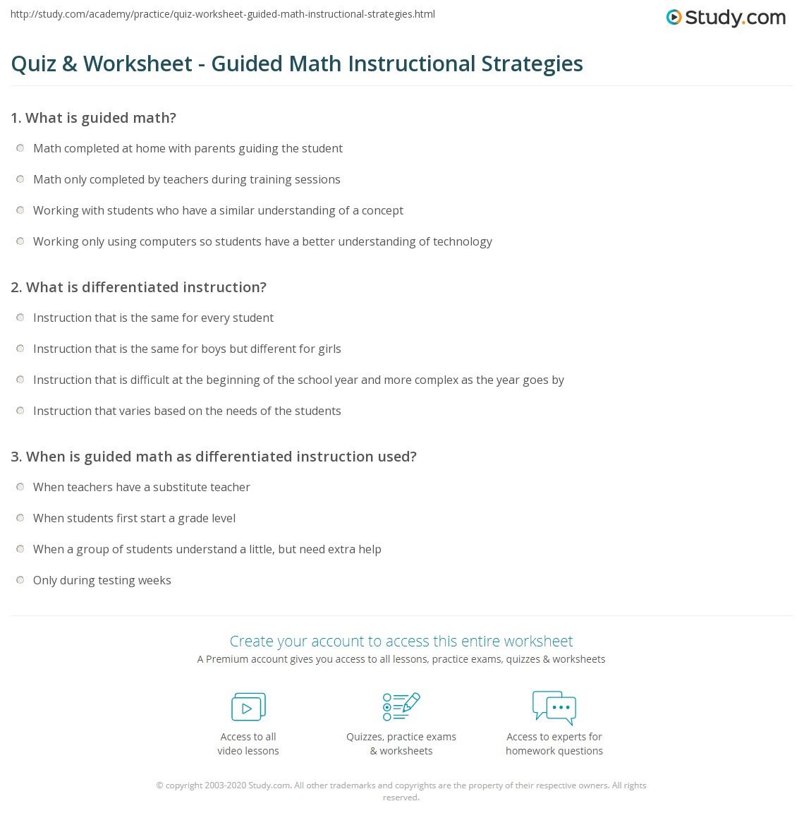Quiz Worksheet Guided Math Instructional Strategies Study