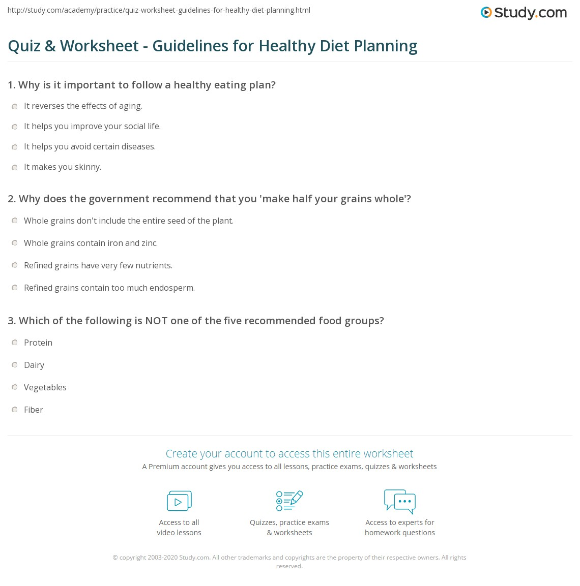 Quiz Worksheet Guidelines for Healthy Diet Planning – Healthy Eating Worksheets