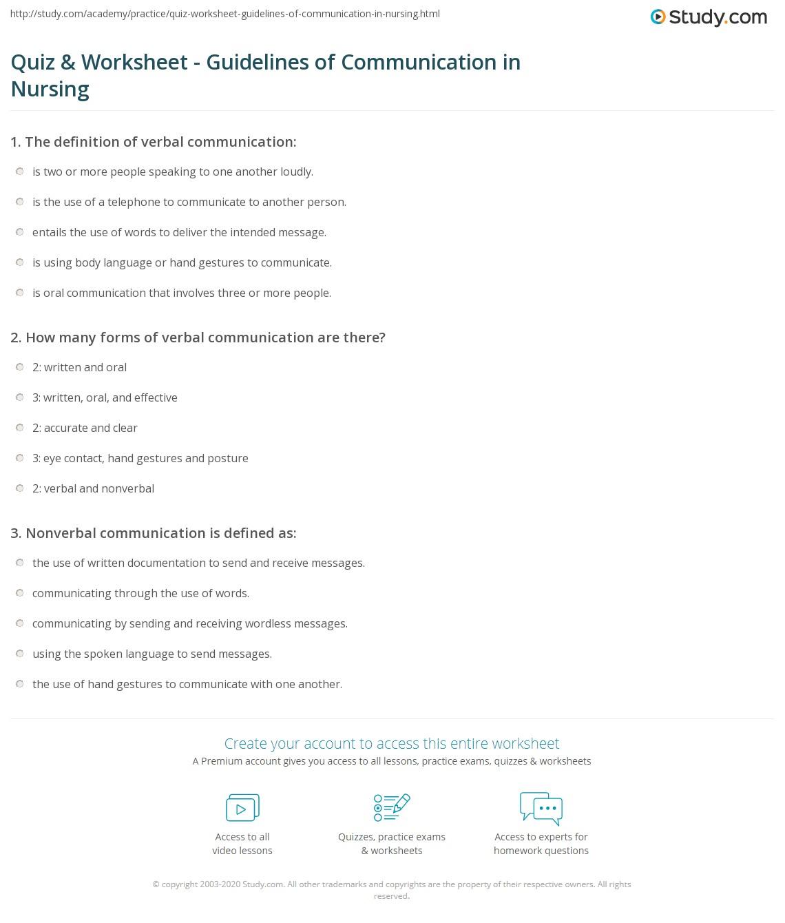 Quiz & Worksheet - Guidelines of Communication in Nursing