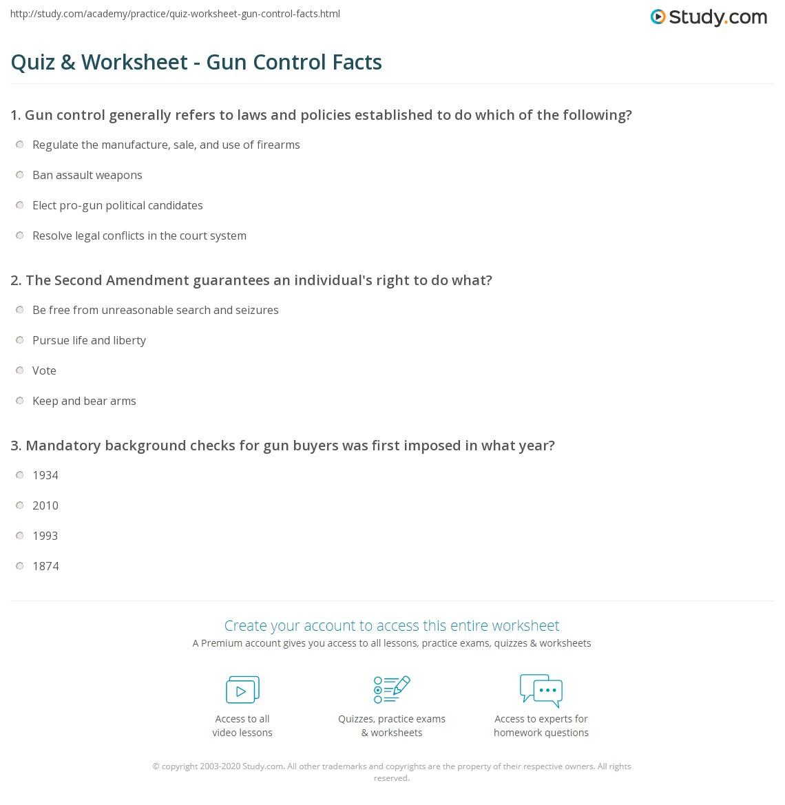 quiz worksheet gun control facts. Black Bedroom Furniture Sets. Home Design Ideas