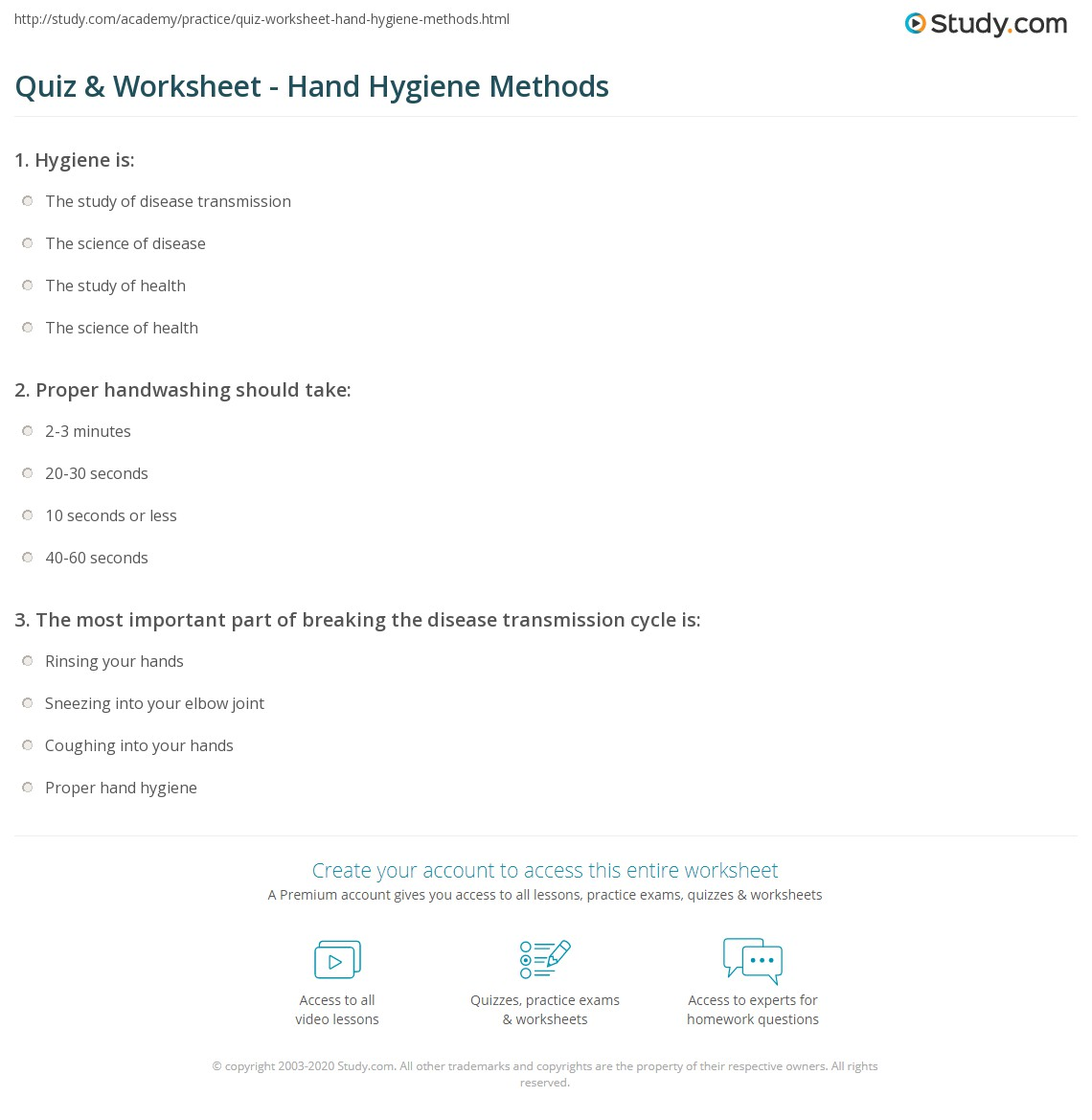 quiz worksheet hand hygiene methods com print hand hygiene for health care when how to clean hands worksheet
