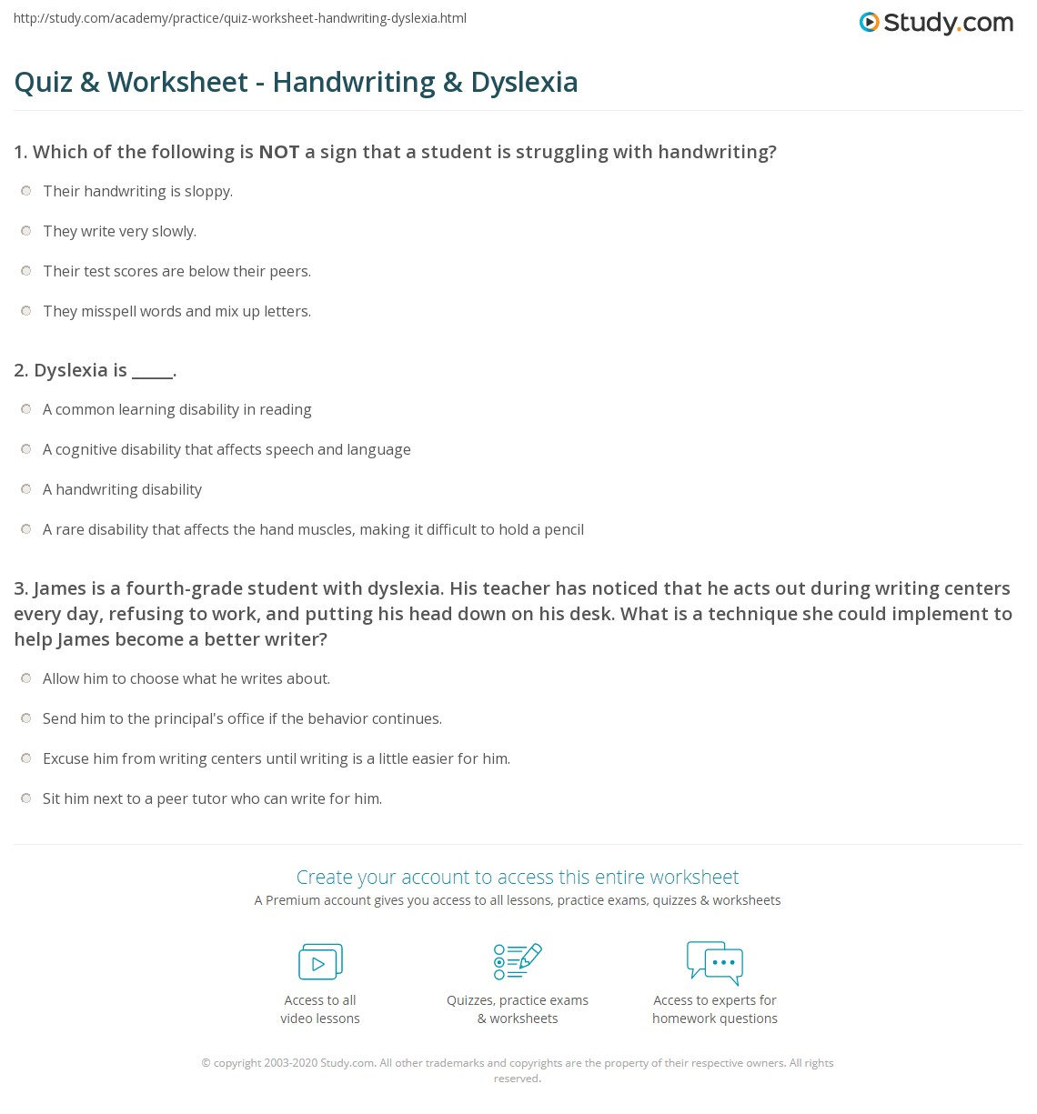 quiz worksheet handwriting dyslexia. Black Bedroom Furniture Sets. Home Design Ideas