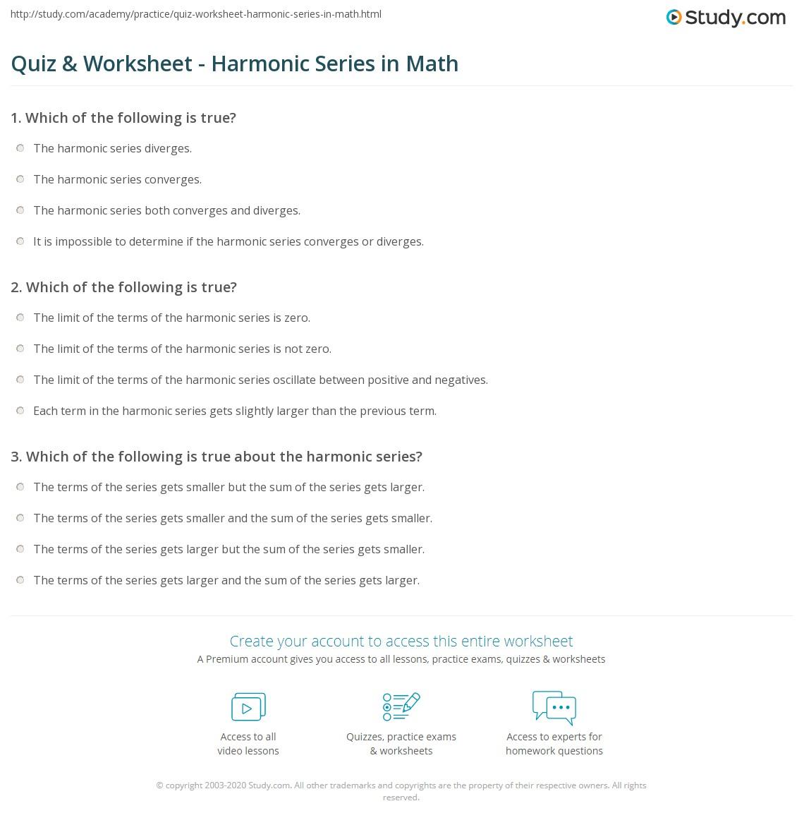 Quiz Worksheet Harmonic Series In Math Study