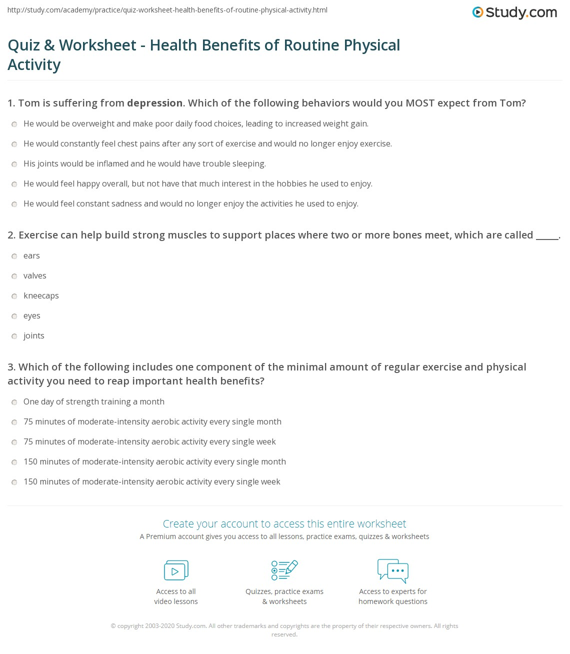 Quiz Worksheet Health Benefits Of Routine Physical Activity