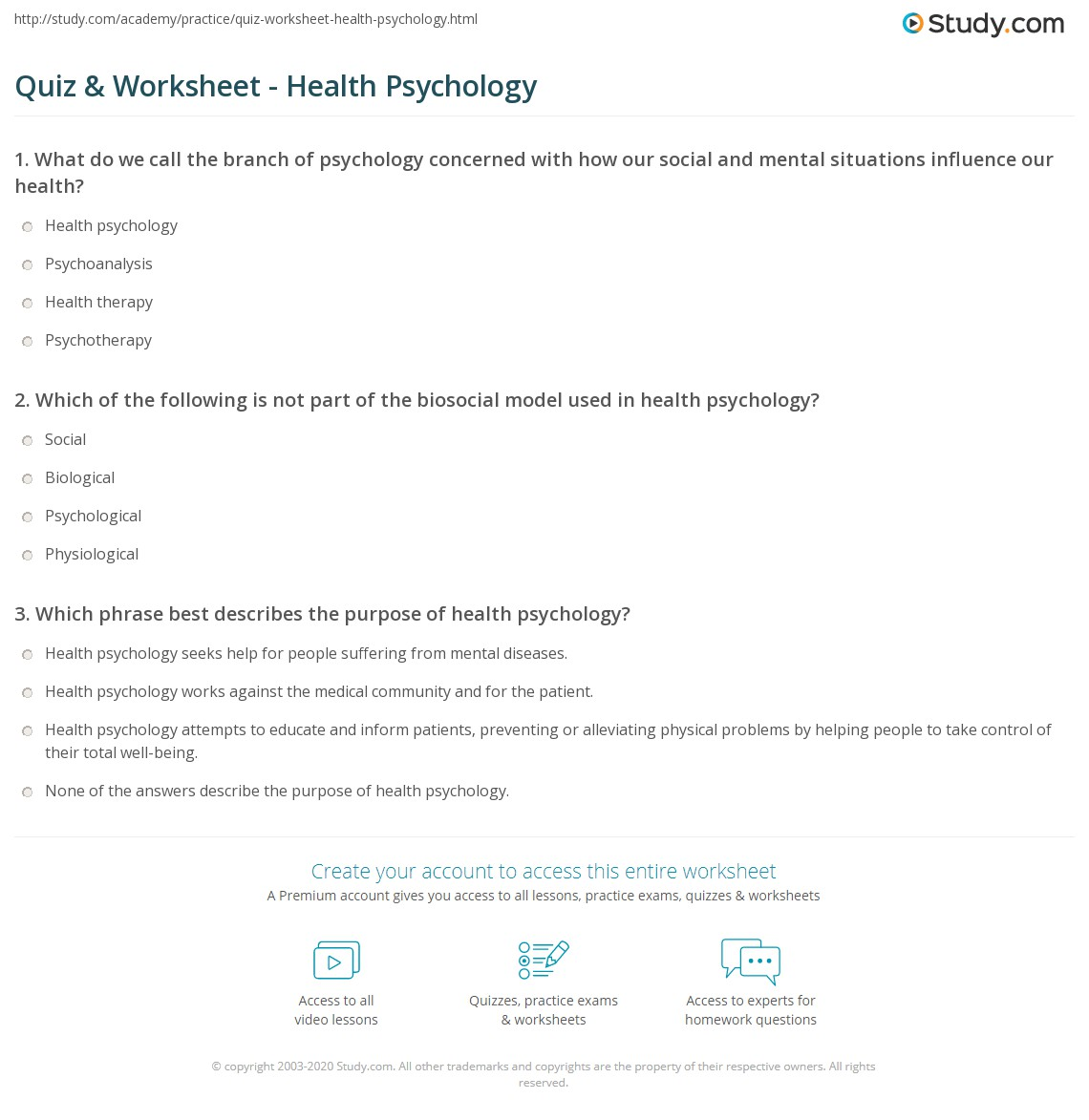 quiz & worksheet - health psychology | study