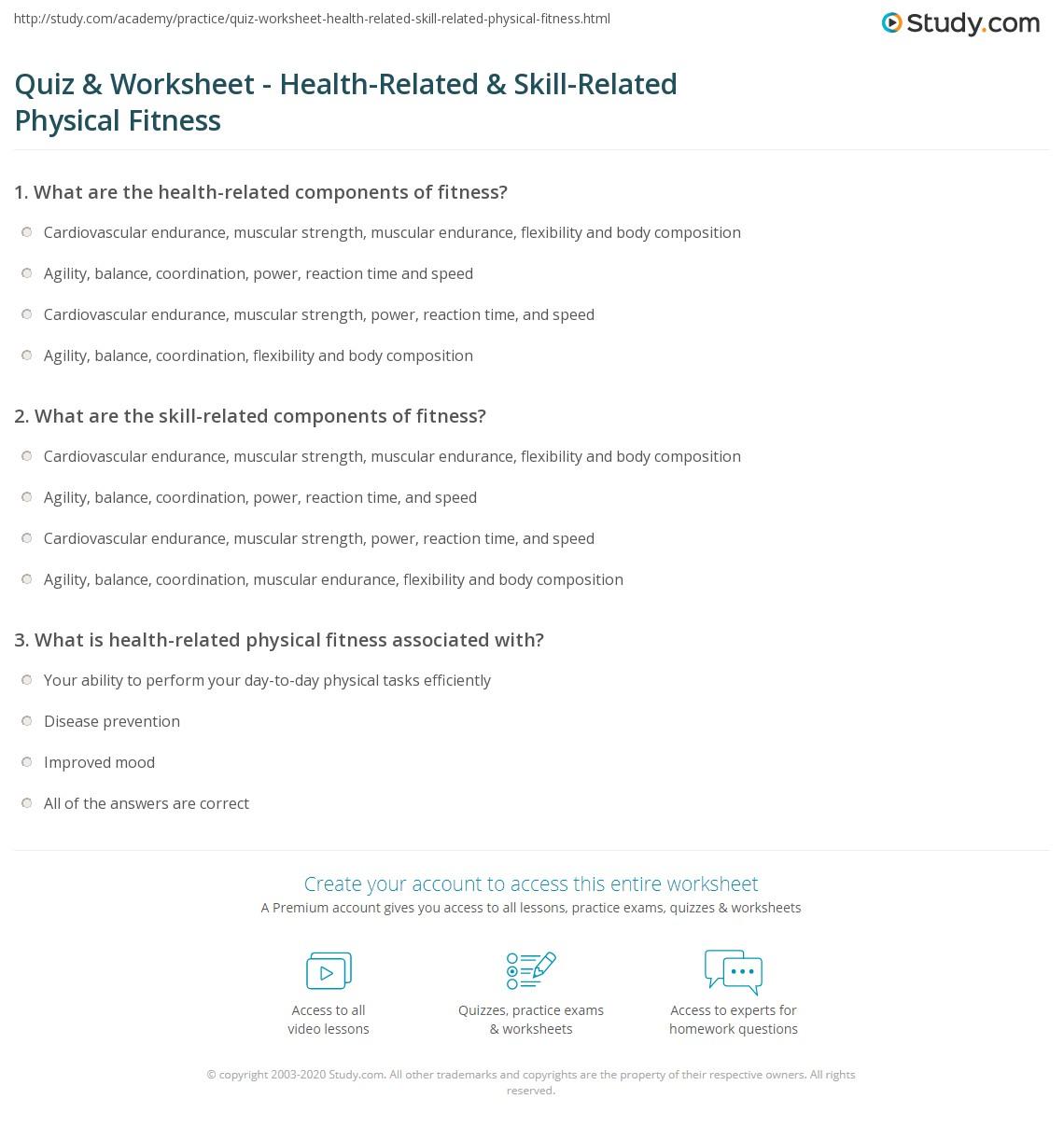 Quiz Worksheet HealthRelated SkillRelated Physical Fitness – Health Worksheets