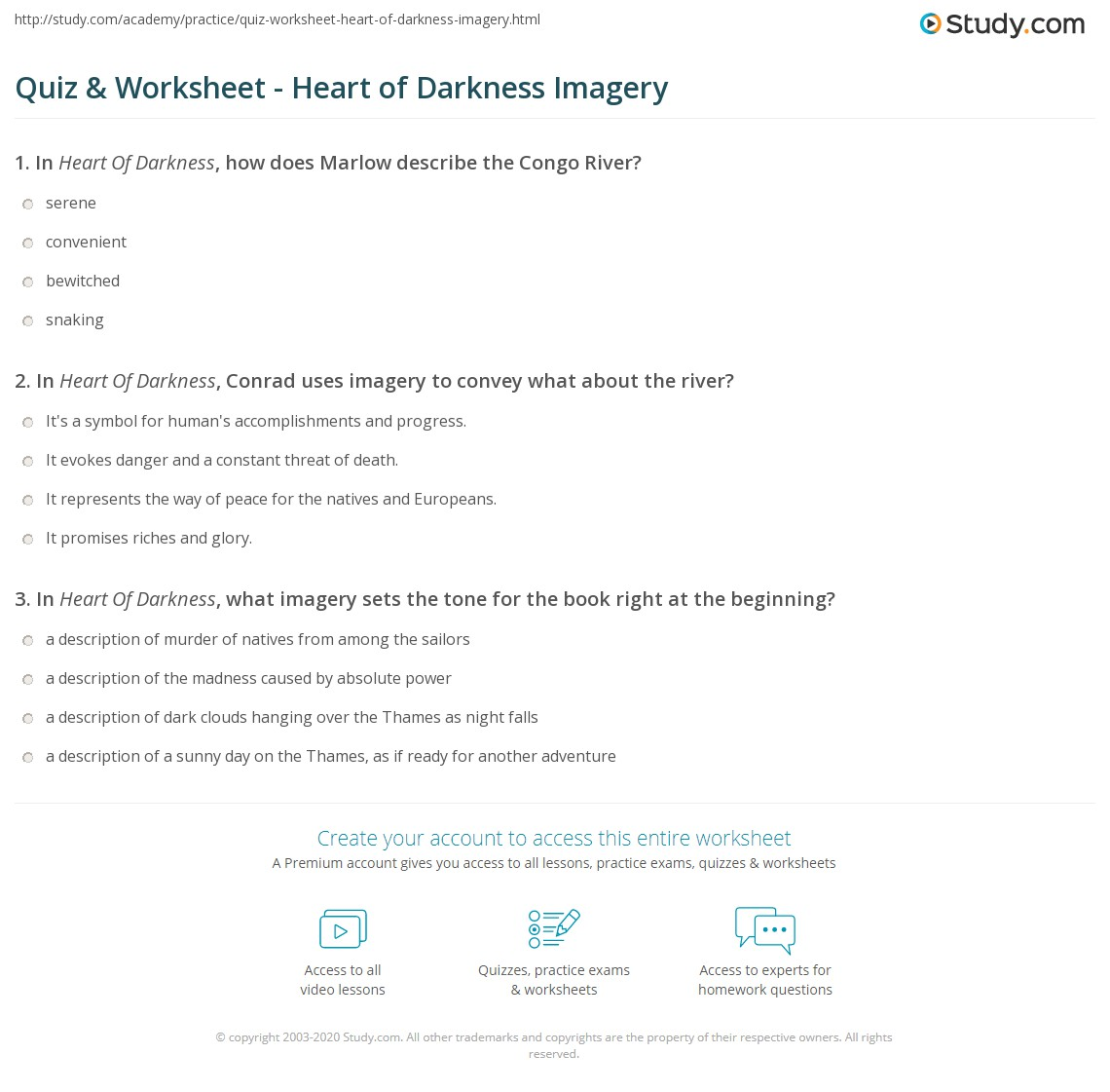 Quiz Worksheet Heart Of Darkness Imagery Study
