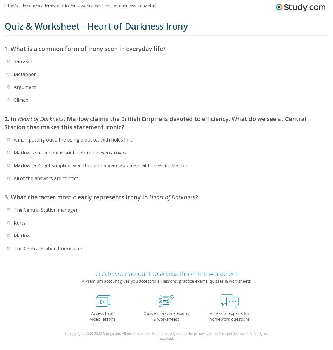 Quiz worksheet heart of darkness irony study irony in heart of darkness buycottarizona Images