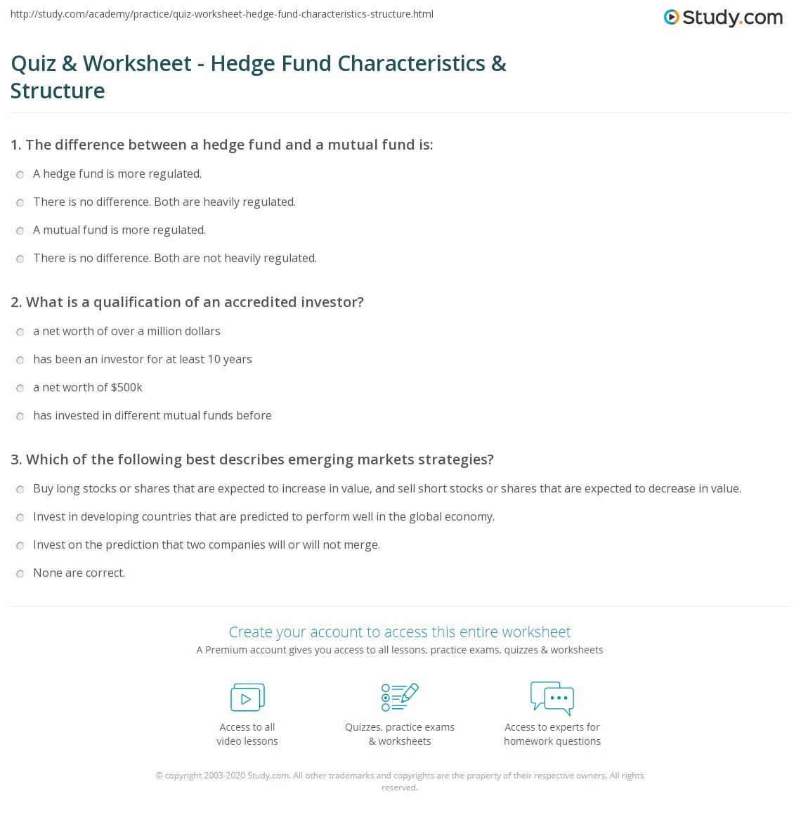 quiz & worksheet - hedge fund characteristics & structure | study