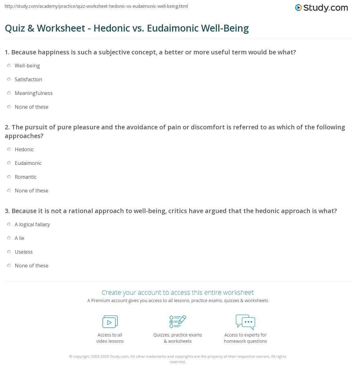 quiz worksheet hedonic vs eudaimonic well being. Black Bedroom Furniture Sets. Home Design Ideas