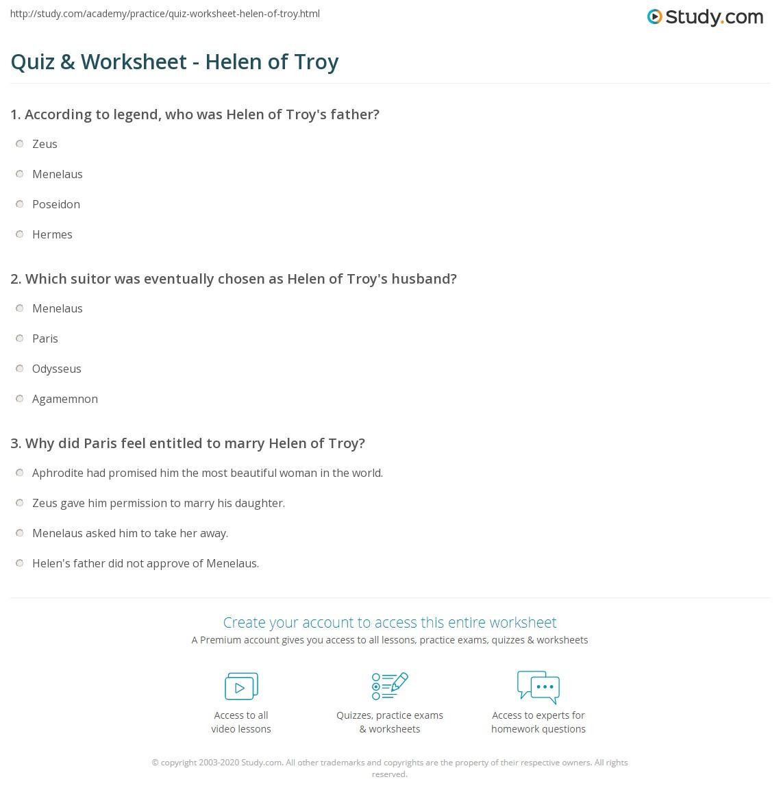 the legend of troy worksheet