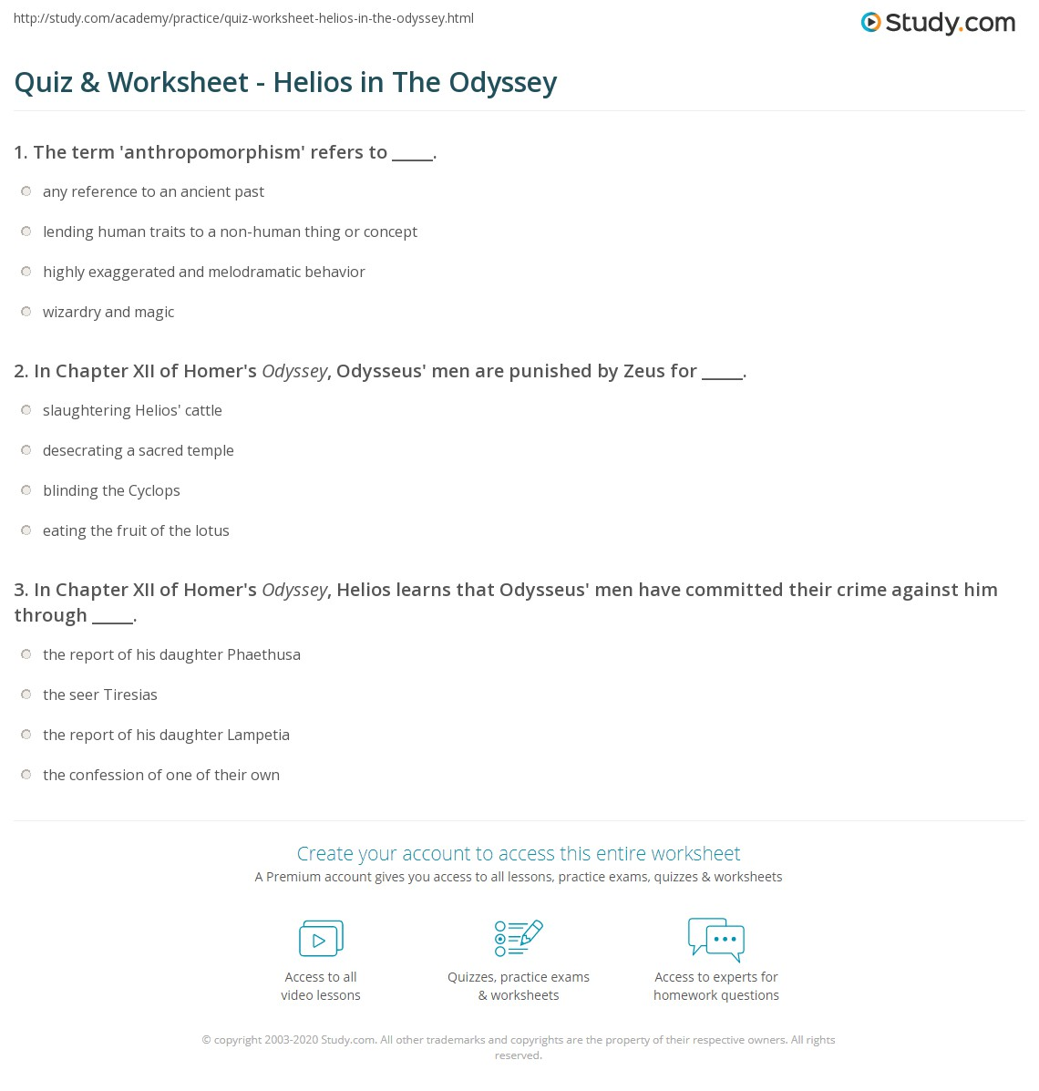 Print Who Is Helios In The Odyssey Worksheet