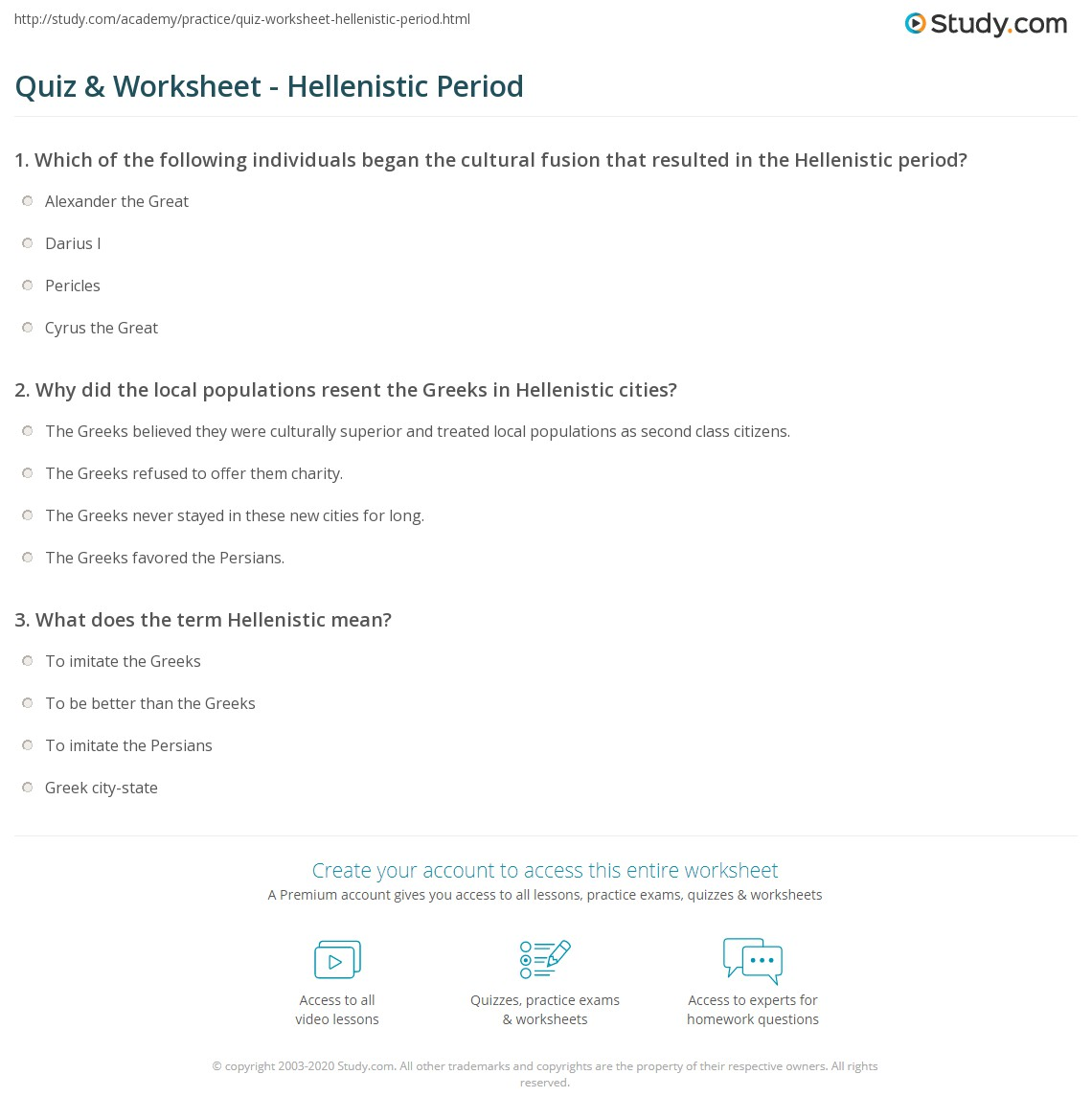 quiz worksheet hellenistic period. Black Bedroom Furniture Sets. Home Design Ideas