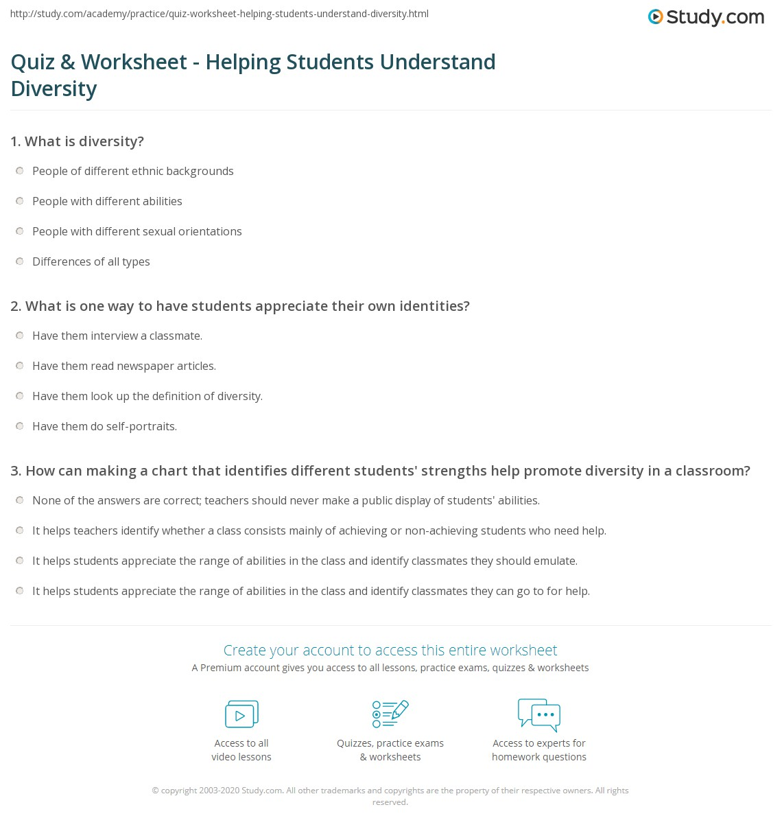 Quiz & Worksheet - Helping Students Understand Diversity | Study.com