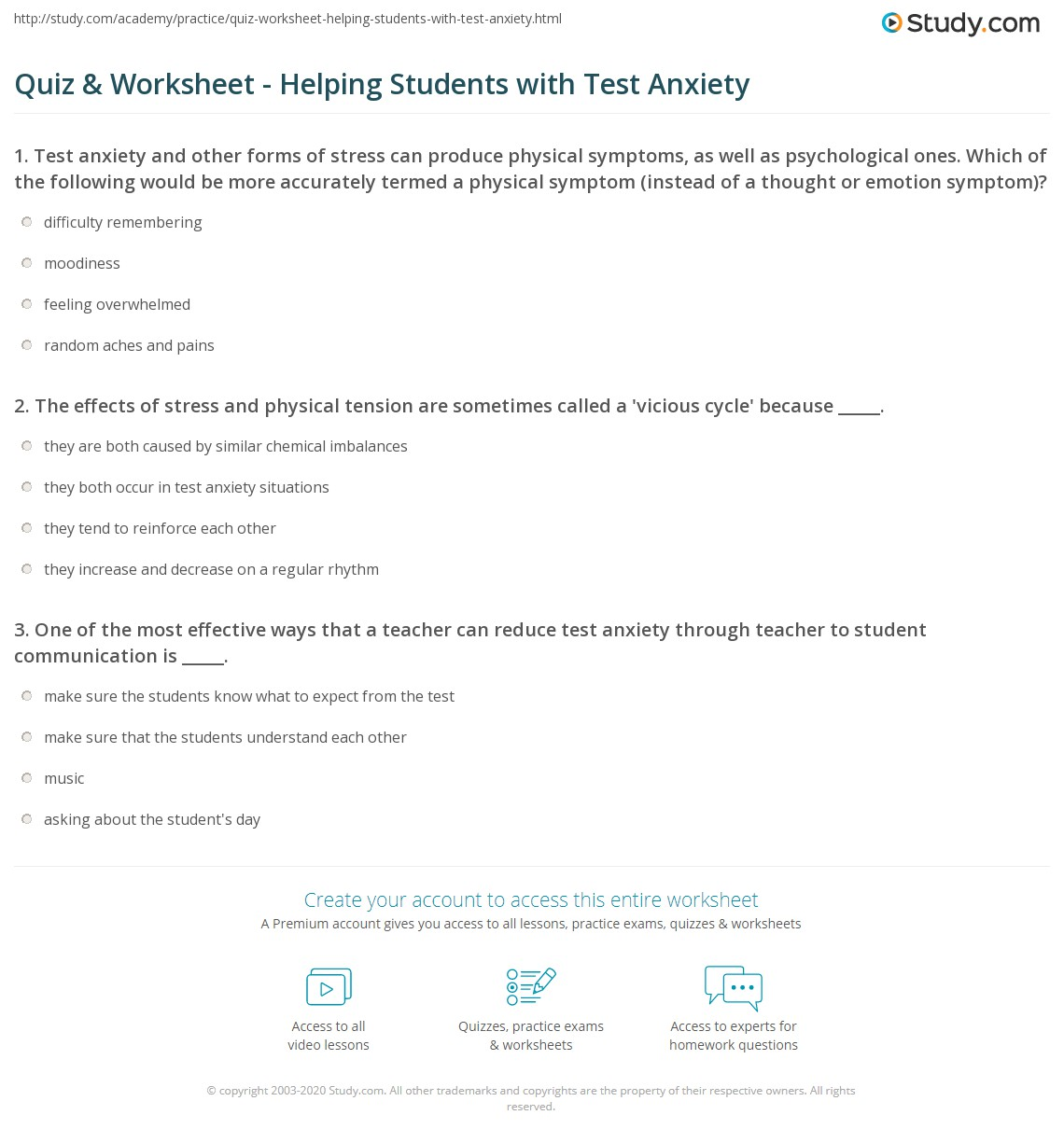 Worksheets Test Anxiety Worksheets quiz worksheet helping students with test anxiety study com print how to help worksheet