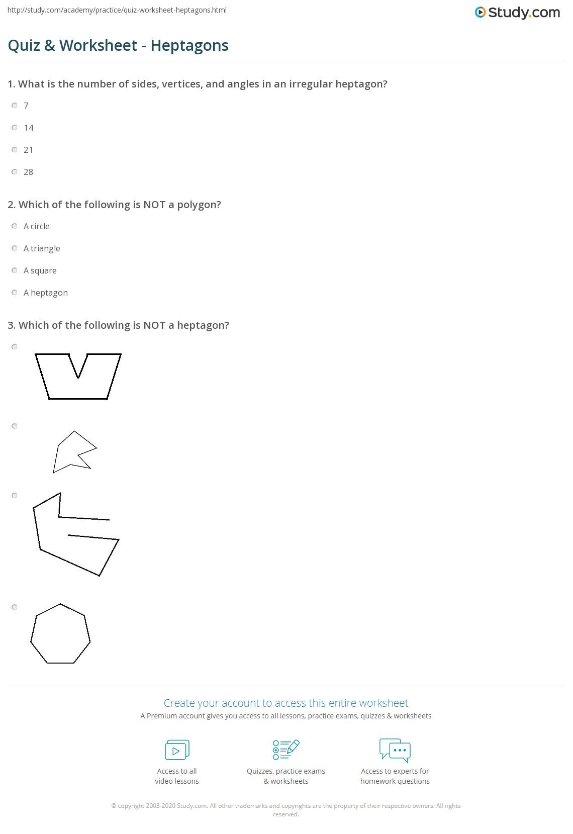 Quiz & Worksheet - Heptagons   Study.com