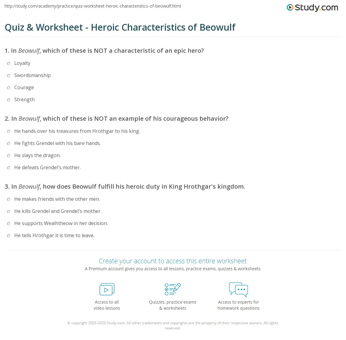 Worksheets Beowulf Worksheets quiz worksheet heroic characteristics of beowulf study com print worksheet