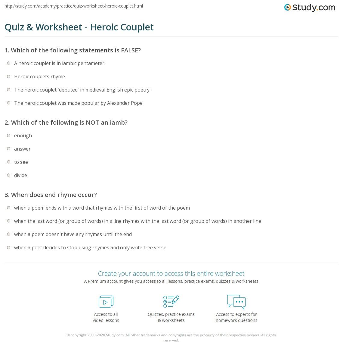 Worksheets Iambic Pentameter Worksheet quiz worksheet heroic couplet study com print definition examples worksheet