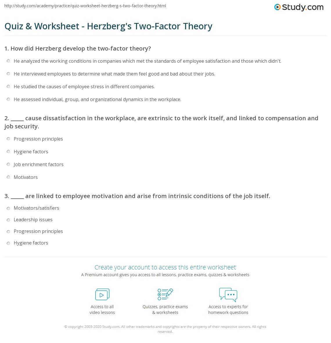 essay on herzbergs two factor theory Herzberg two-factor theory the theory began with the question: what do people want to get out of their jobs herzberg performed studies from 1920.