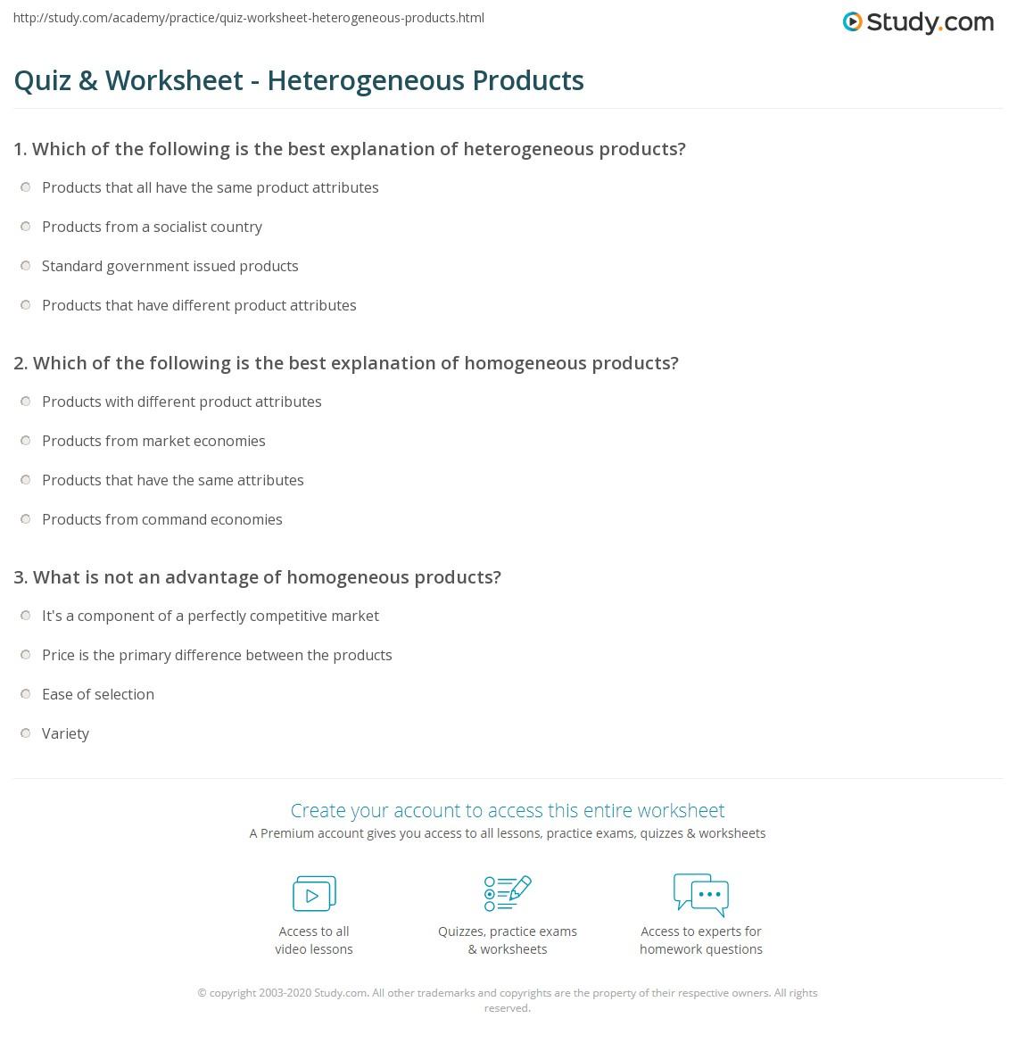 Quiz Worksheet Heterogeneous Products Study