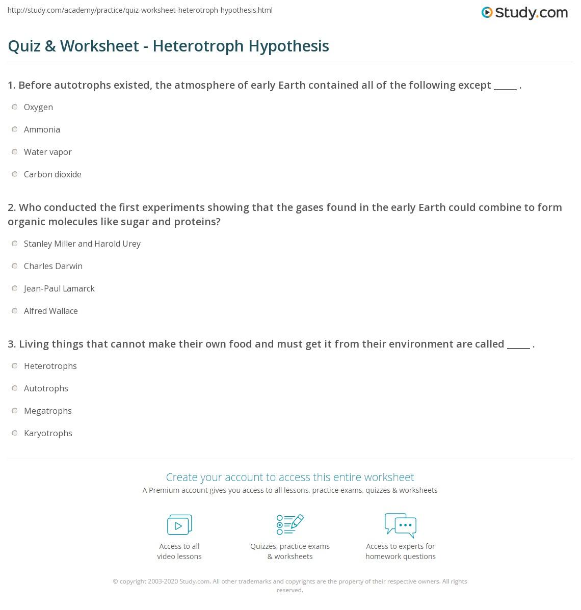Worksheets Hypothesis Worksheet quiz worksheet heterotroph hypothesis study com print the definition overview worksheet