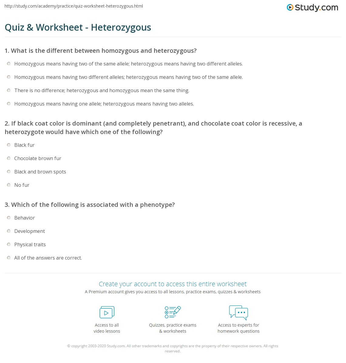 Quiz worksheet heterozygous study print what is heterozygous definition traits example worksheet robcynllc Images