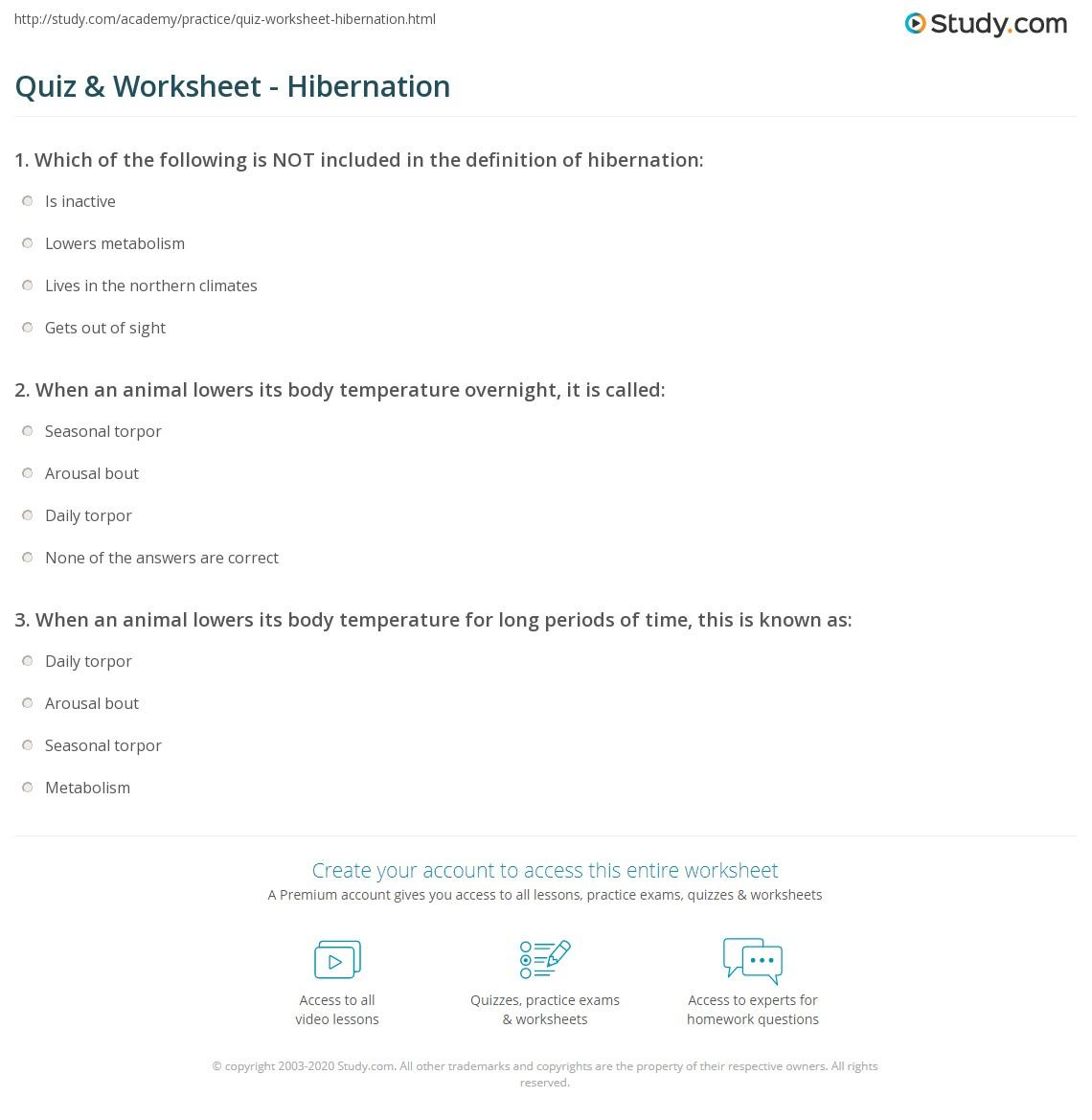 worksheet Hibernation Worksheets quiz worksheet hibernation study com print what is definition facts worksheet