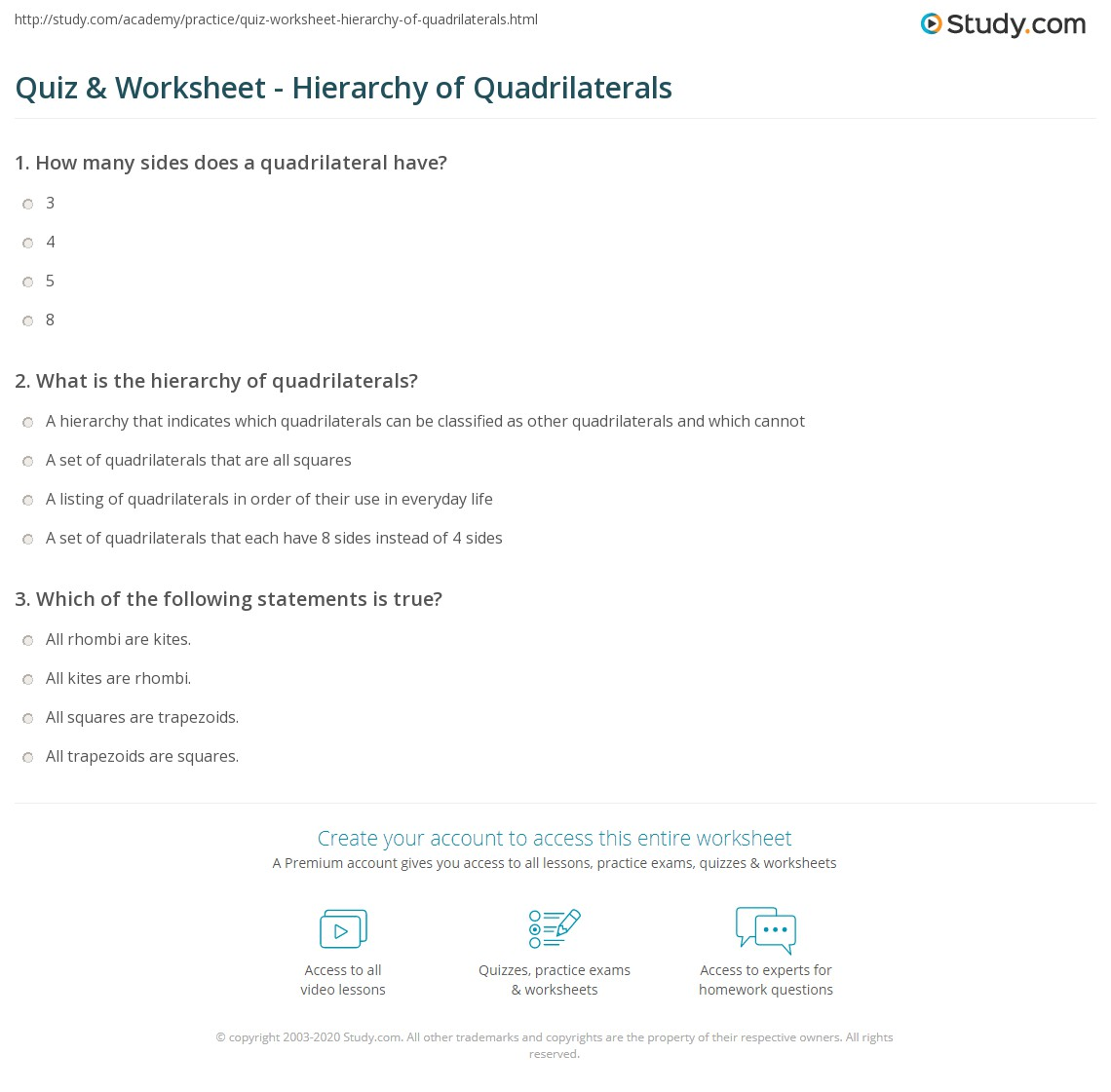 worksheet Area Of Triangles And Quadrilaterals Worksheet quiz worksheet hierarchy of quadrilaterals study com print what is the worksheet