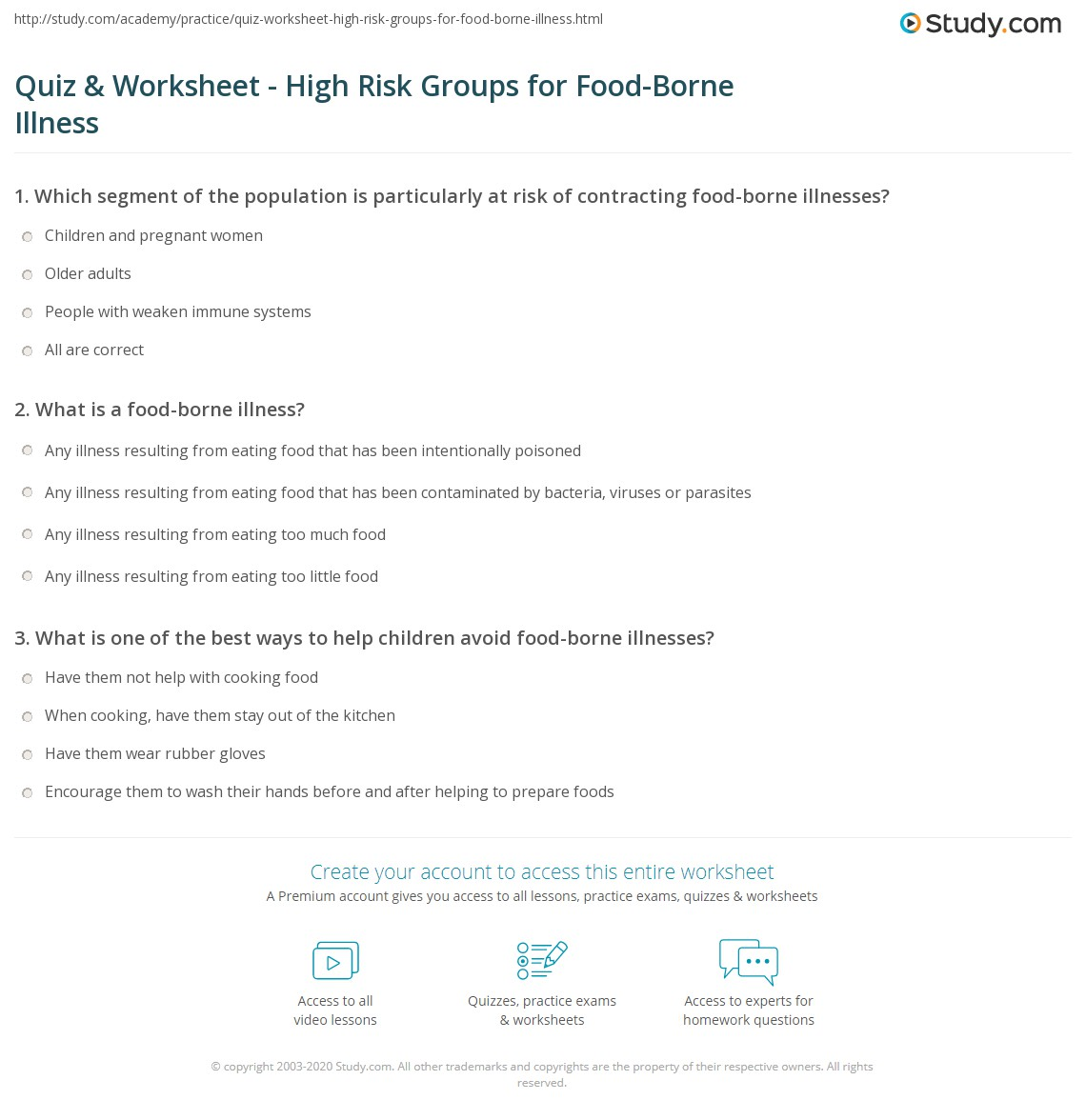 quiz worksheet high risk groups for food borne illness. Black Bedroom Furniture Sets. Home Design Ideas