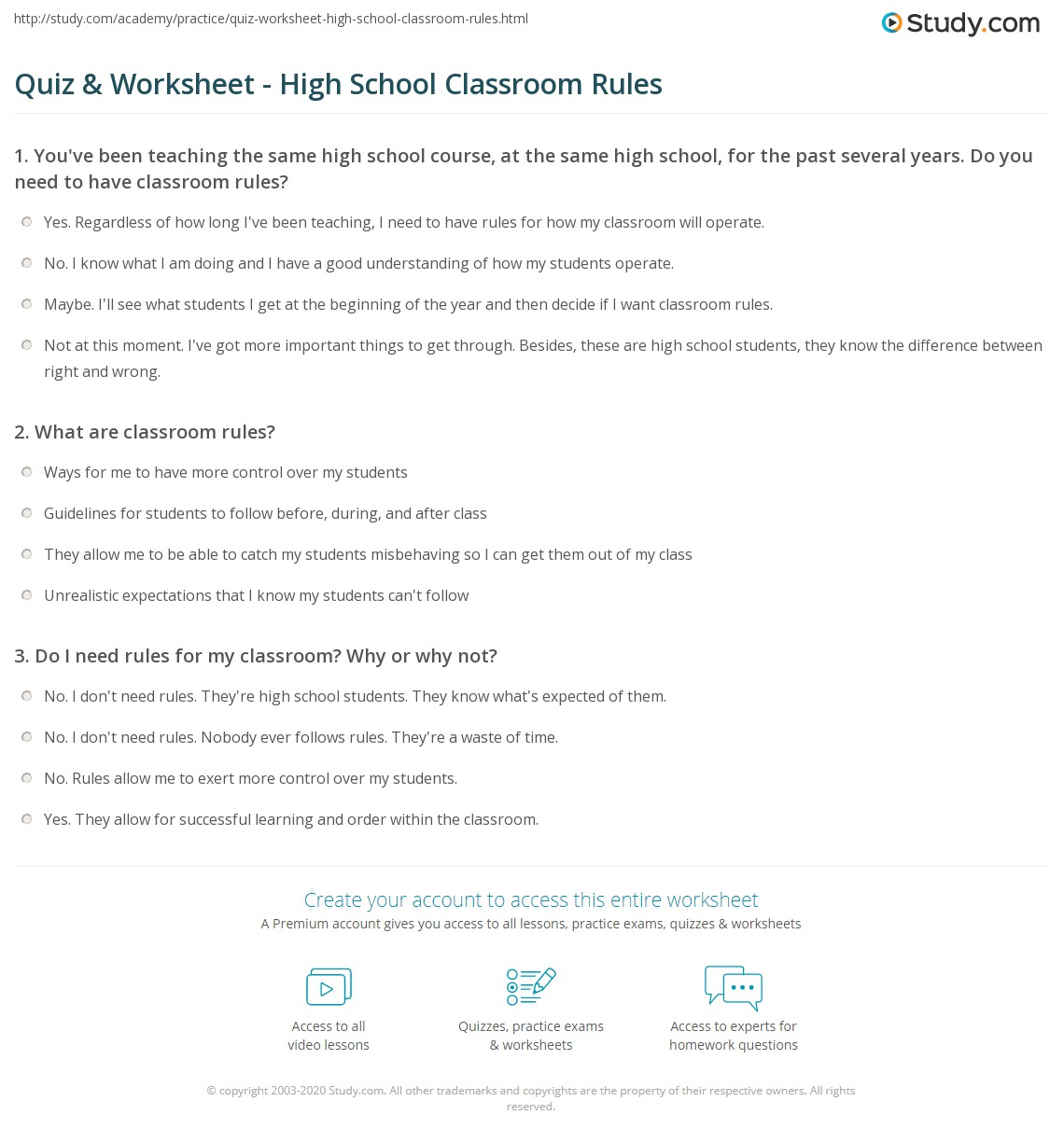 Worksheets Classroom Rules Worksheet quiz worksheet high school classroom rules study com print for worksheet