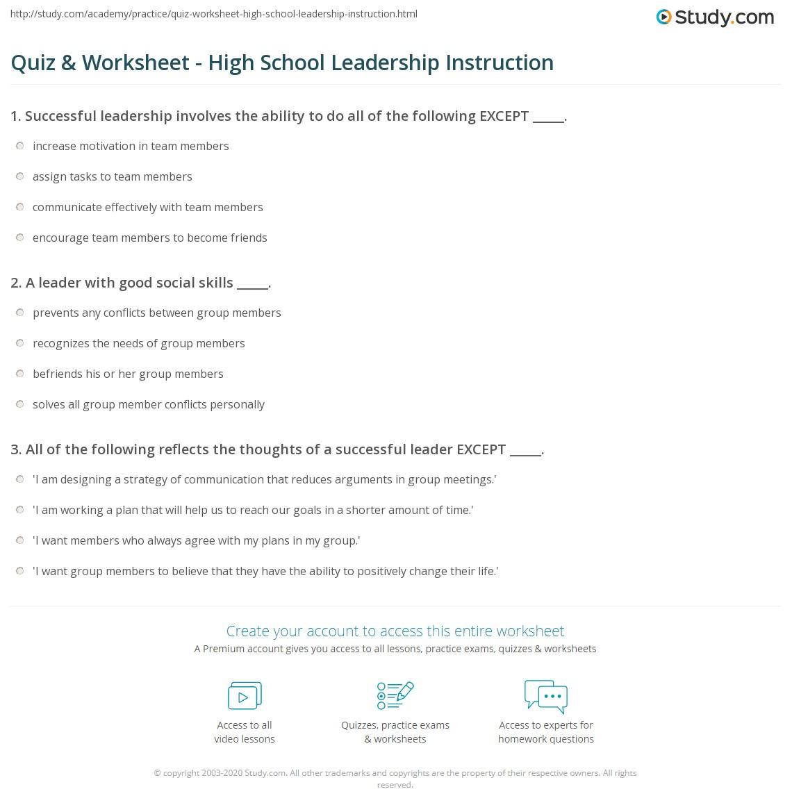 worksheet Worksheets For High School quiz worksheet high school leadership instruction study com print teaching to students worksheet