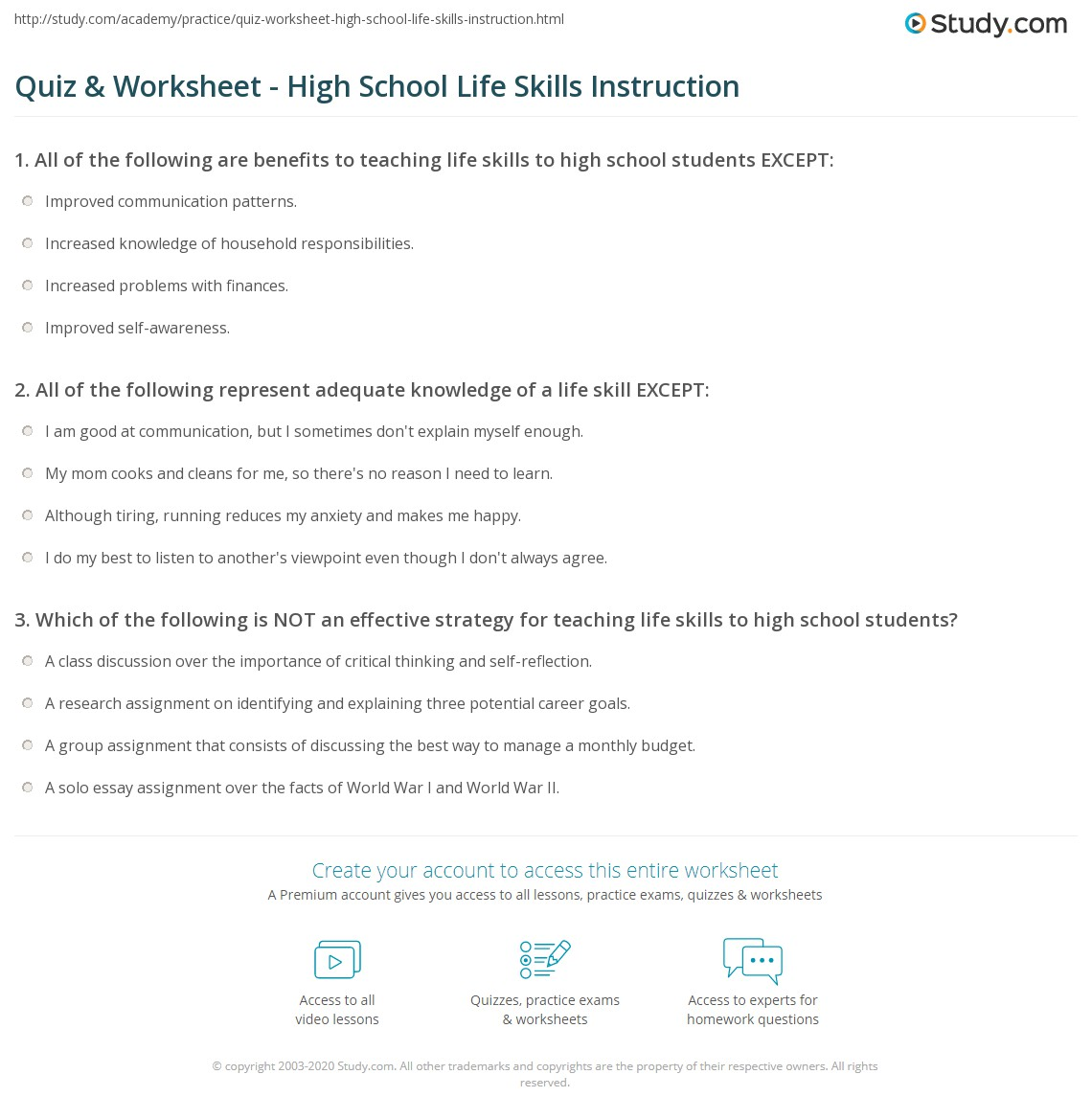 worksheet Life Skills Worksheets High School quiz worksheet high school life skills instruction study com print teaching to students worksheet